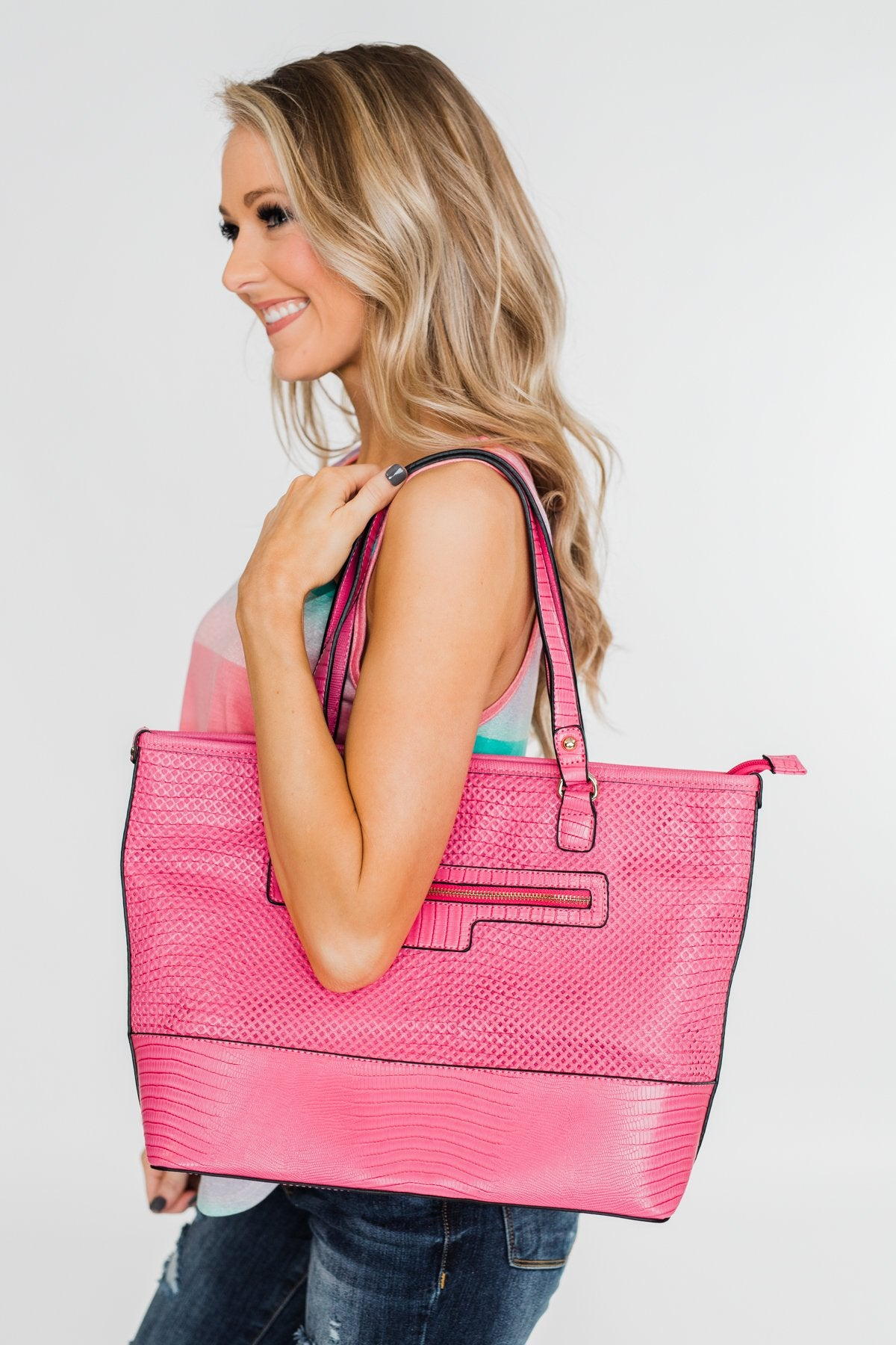 Double Handle Zipper Tote- Fuchsia