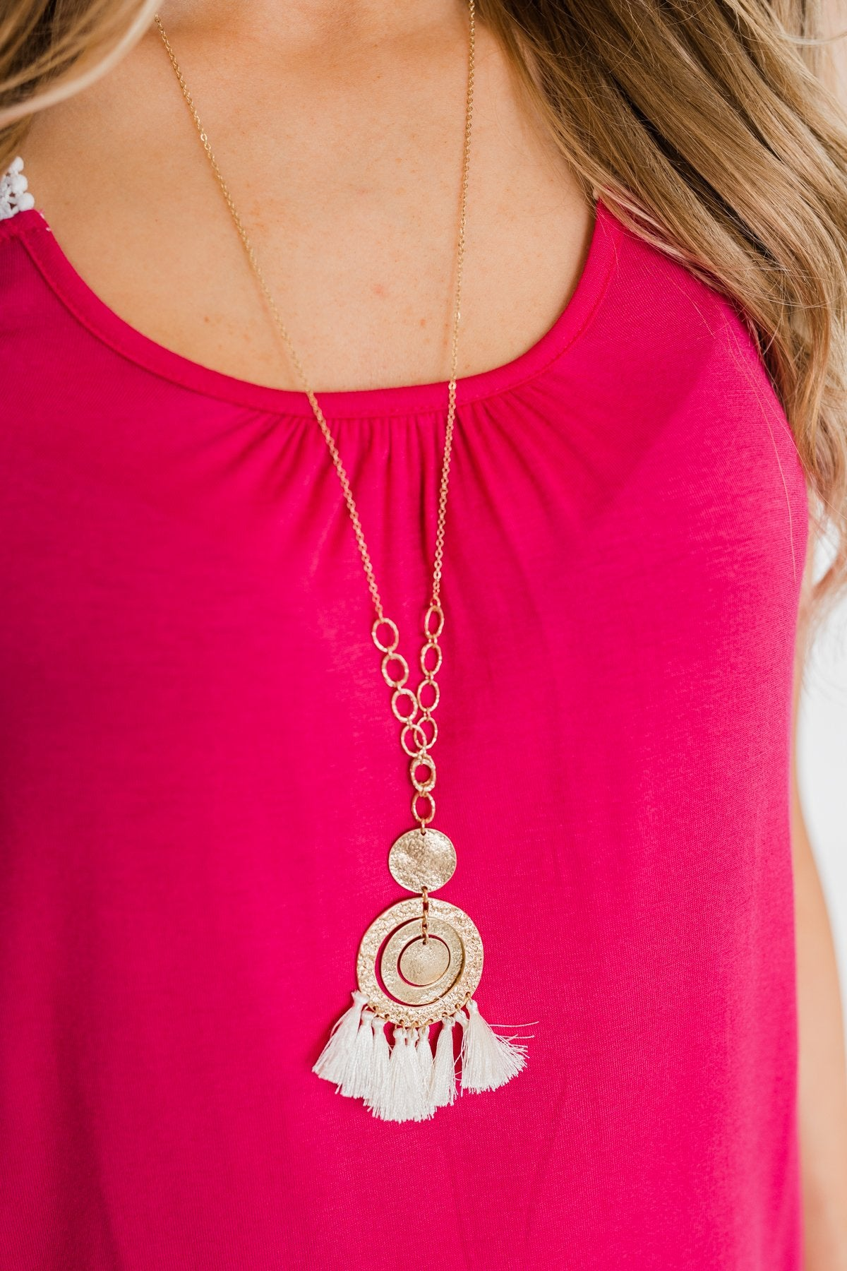 Cream Tassel Circle Accent Necklace