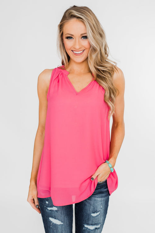 Summer Ready Sheer Pink Tank Top
