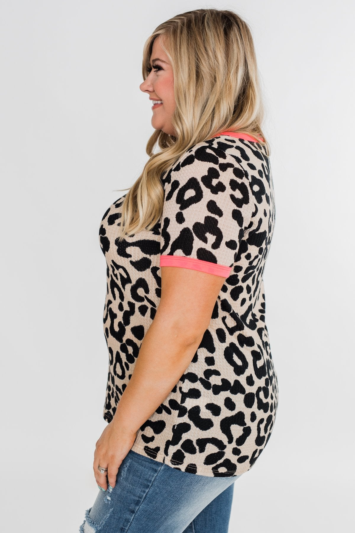 Love for Leopard Short Sleeve Top- Neutral & Neon Pink