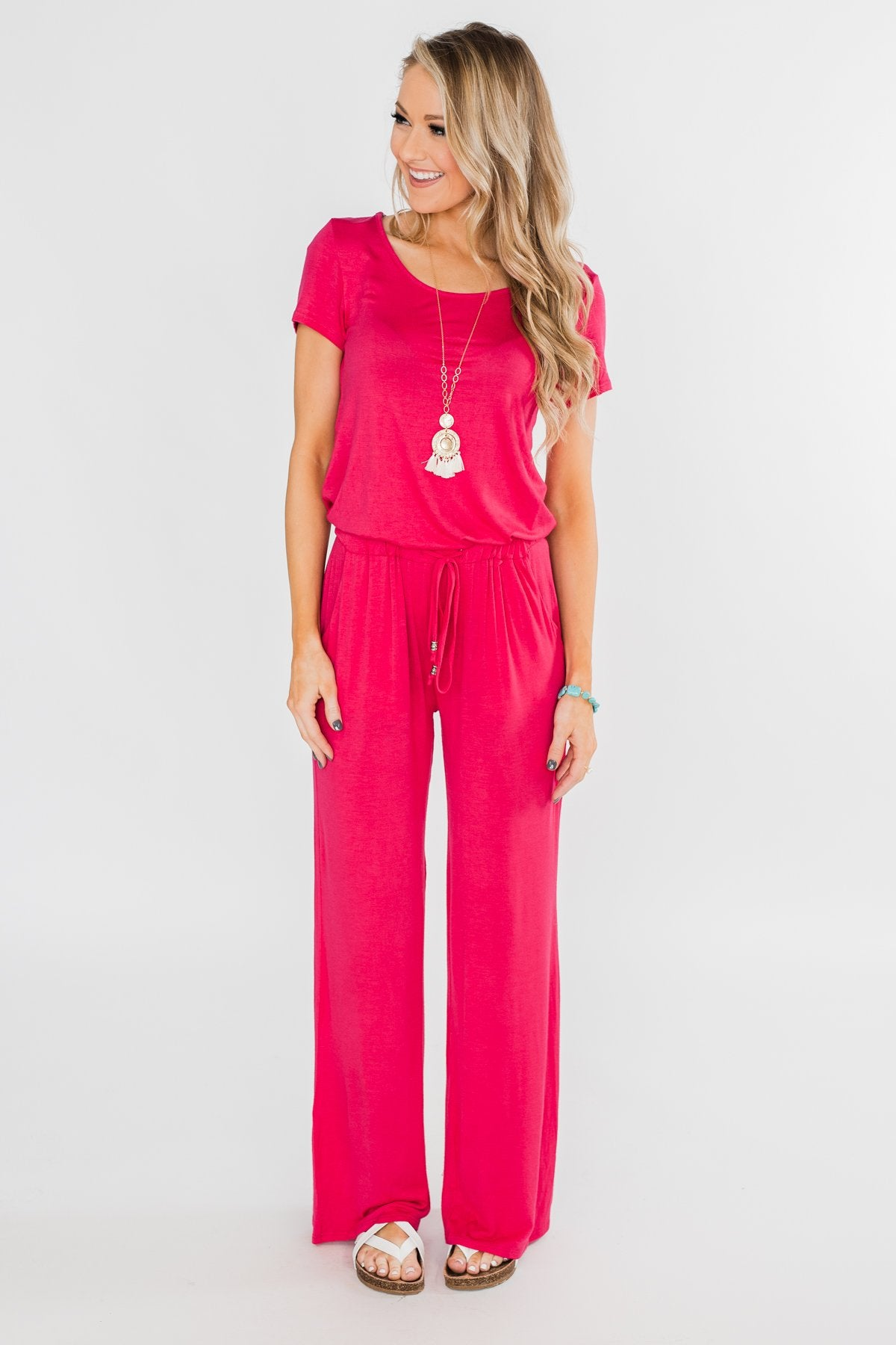 Short Sleeve Drawstring Jumpsuit- Fuchsia