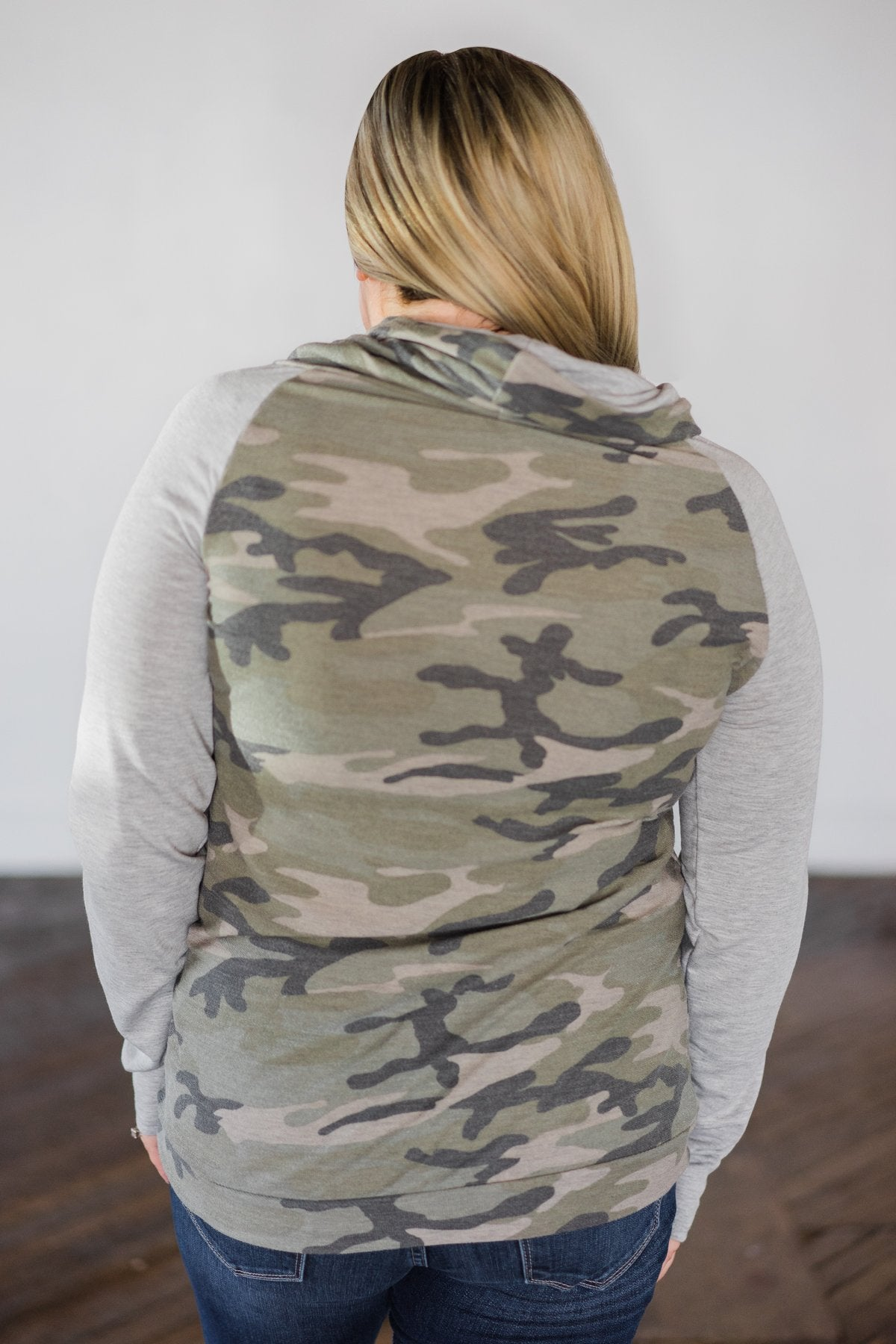 Comfy in Camo Cowl Neck Top