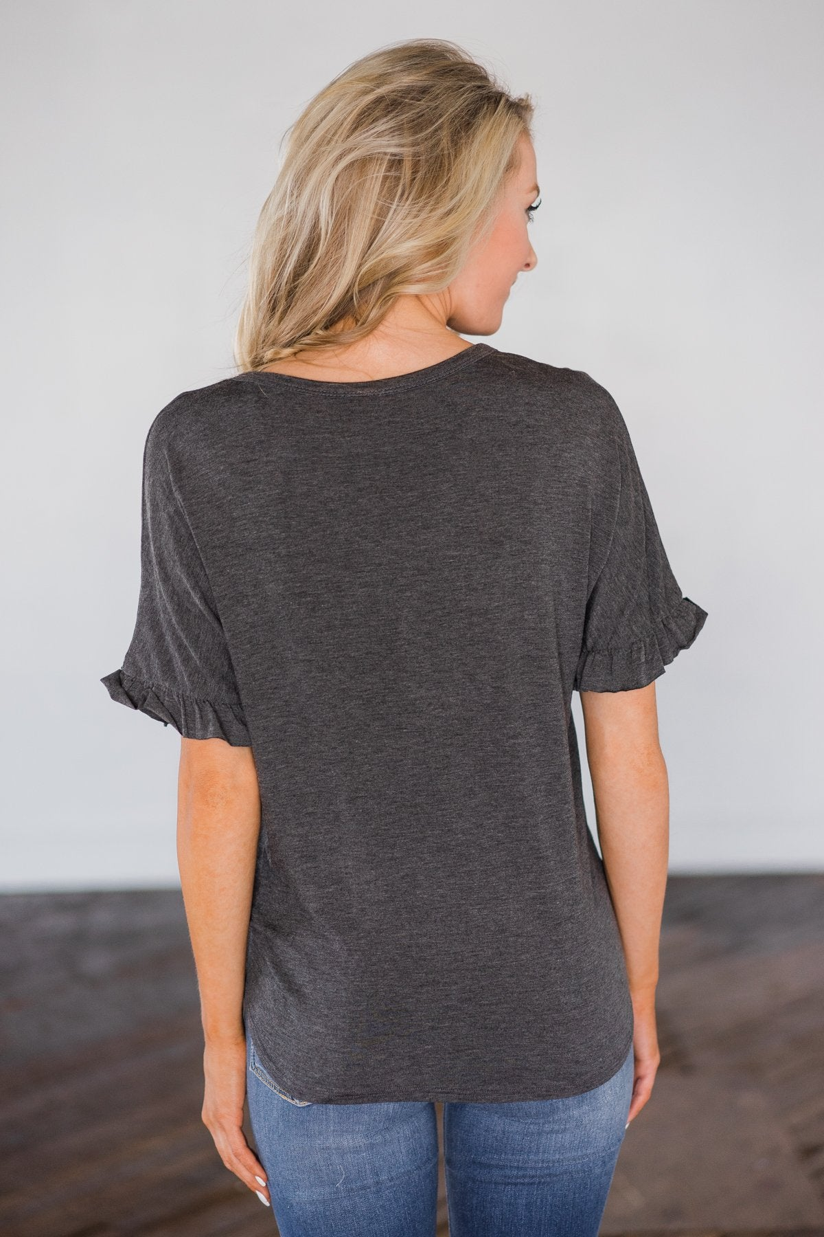 Casual and Comfy Tie Top- Charcoal