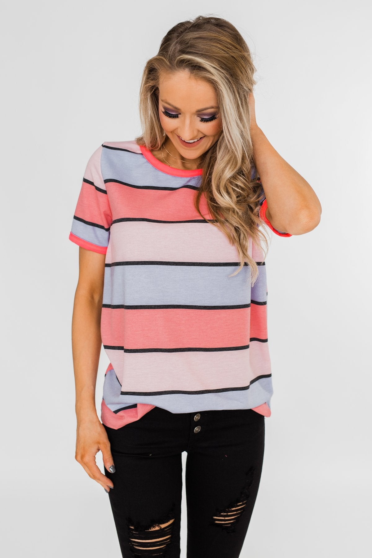 Live A Colorful Life Striped Top- Pink & Purple Tones