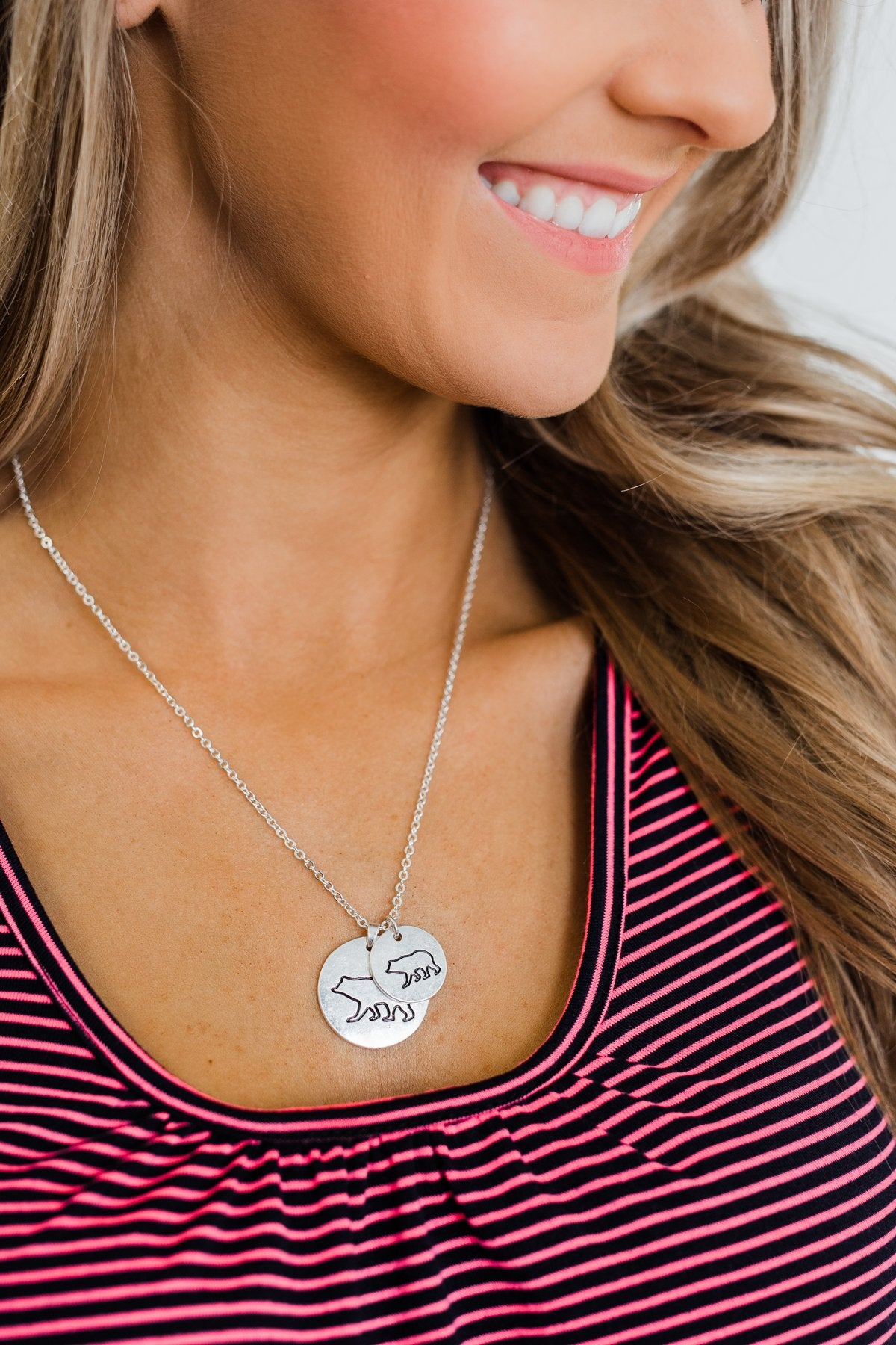 Big & Little Bear Pendant Necklace- Silver