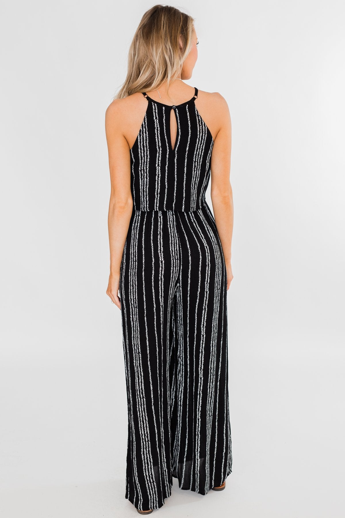 Into the Night Striped Halter Jumpsuit- Black