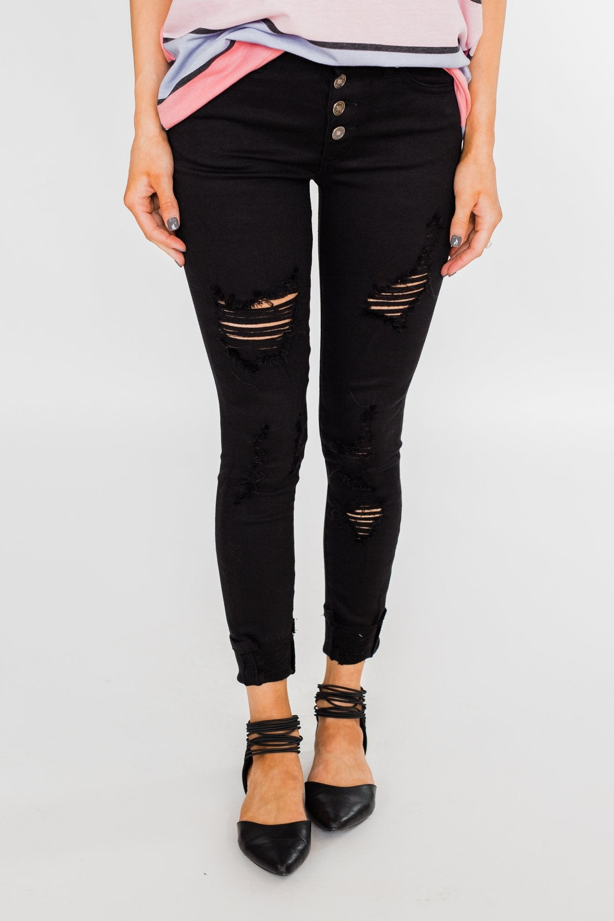 KanCan Distressed Skinny Jeans- Elsie Wash