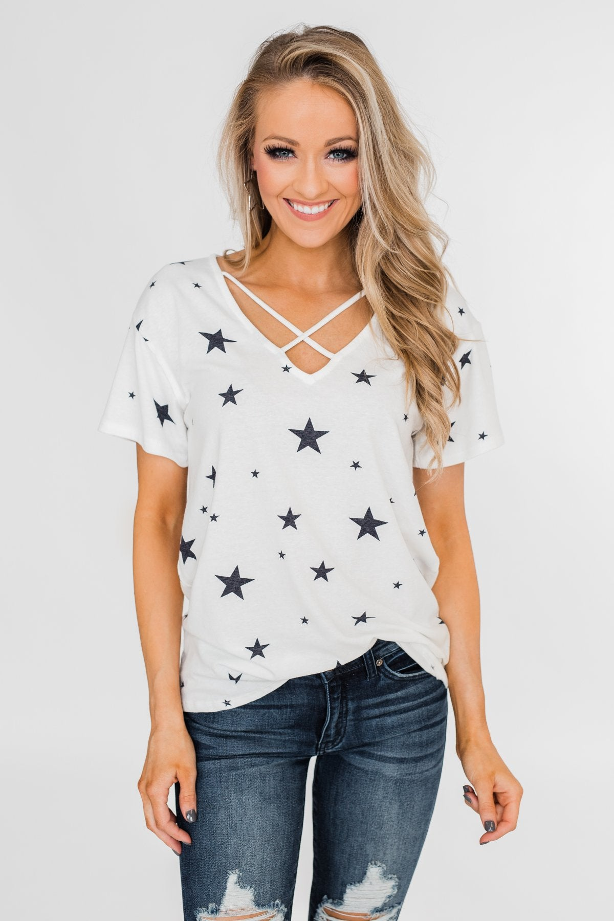 Shine On Criss-Cross Star Top- Ivory