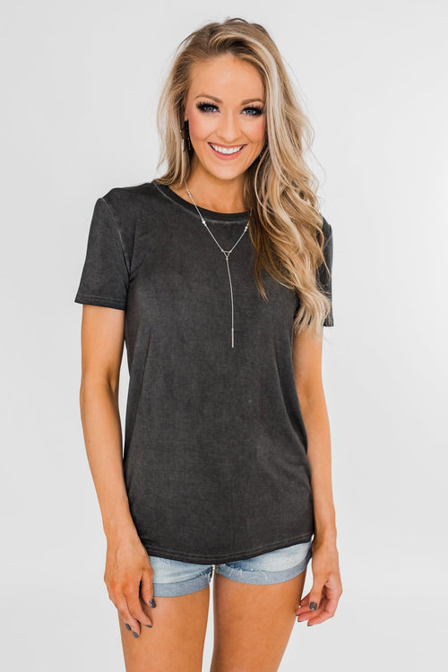 Vintage Beauty Short Sleeve Top- Charcoal