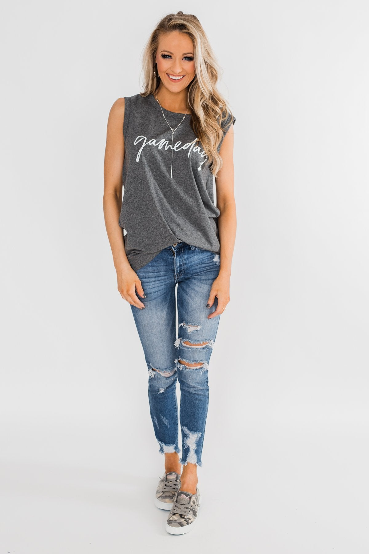 """Gameday"" Graphic Tank Top- Charcoal"