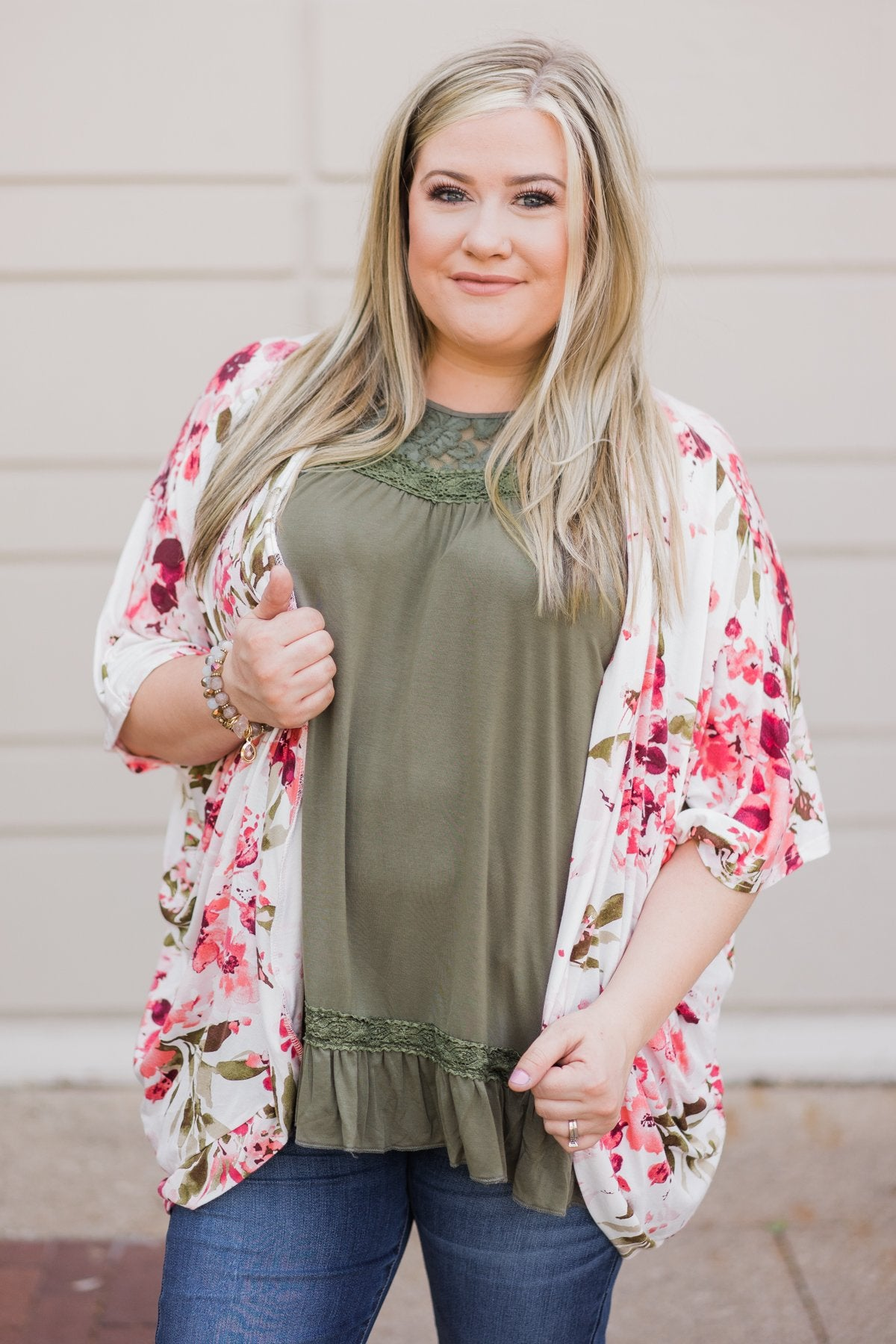 Flawless Floral Shrug- Ivory