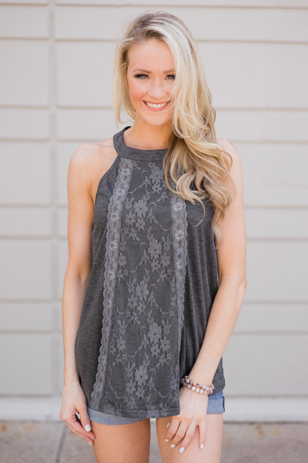 216adbd719b Sunset Lace Halter Tank Top- Charcoal – The Pulse Boutique