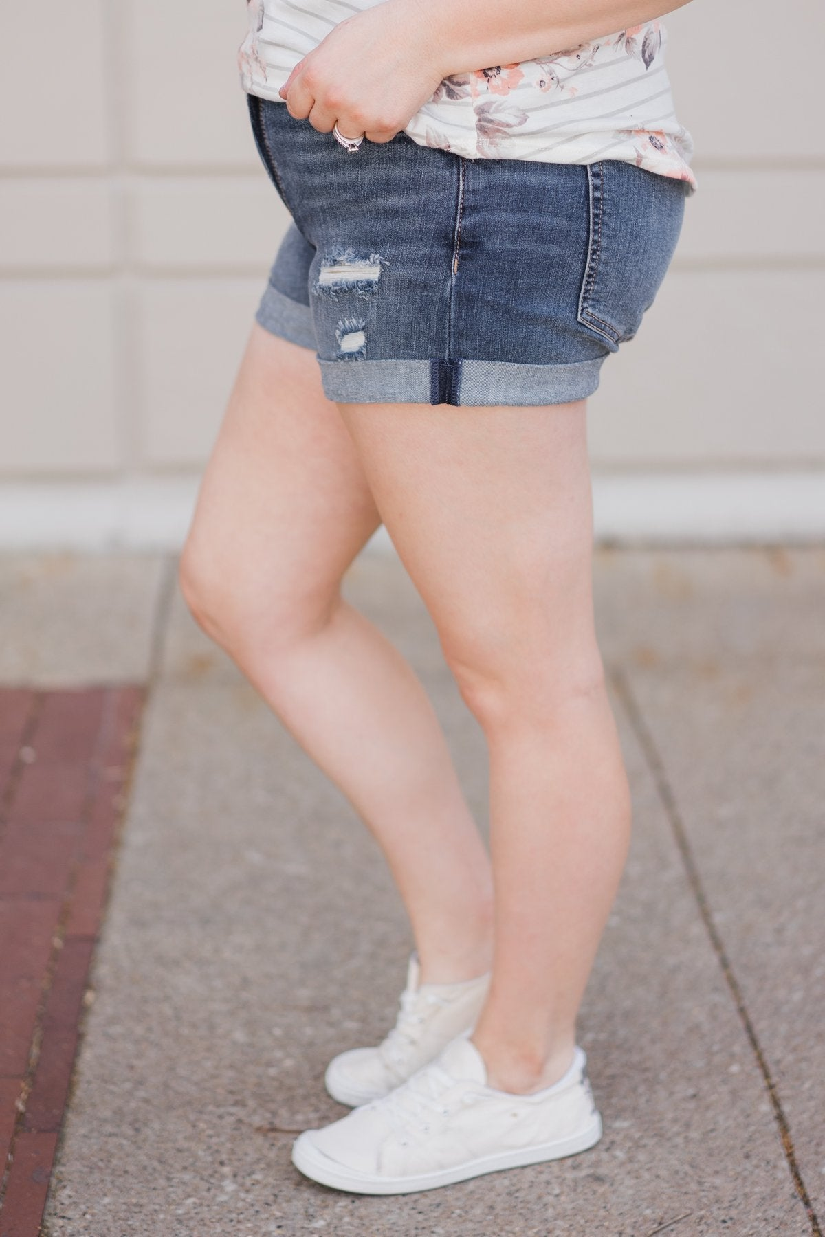Sneak Peek Shorts- Lily Medium Light Wash