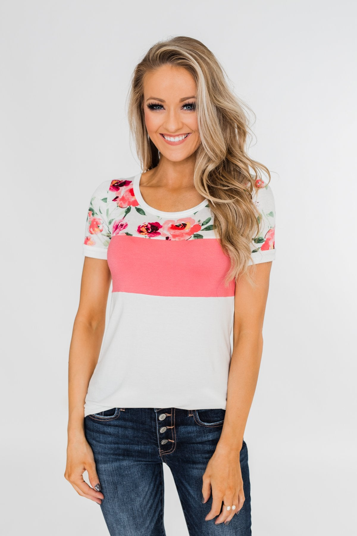 Color Block Short Sleeve Floral Top- White & Pink