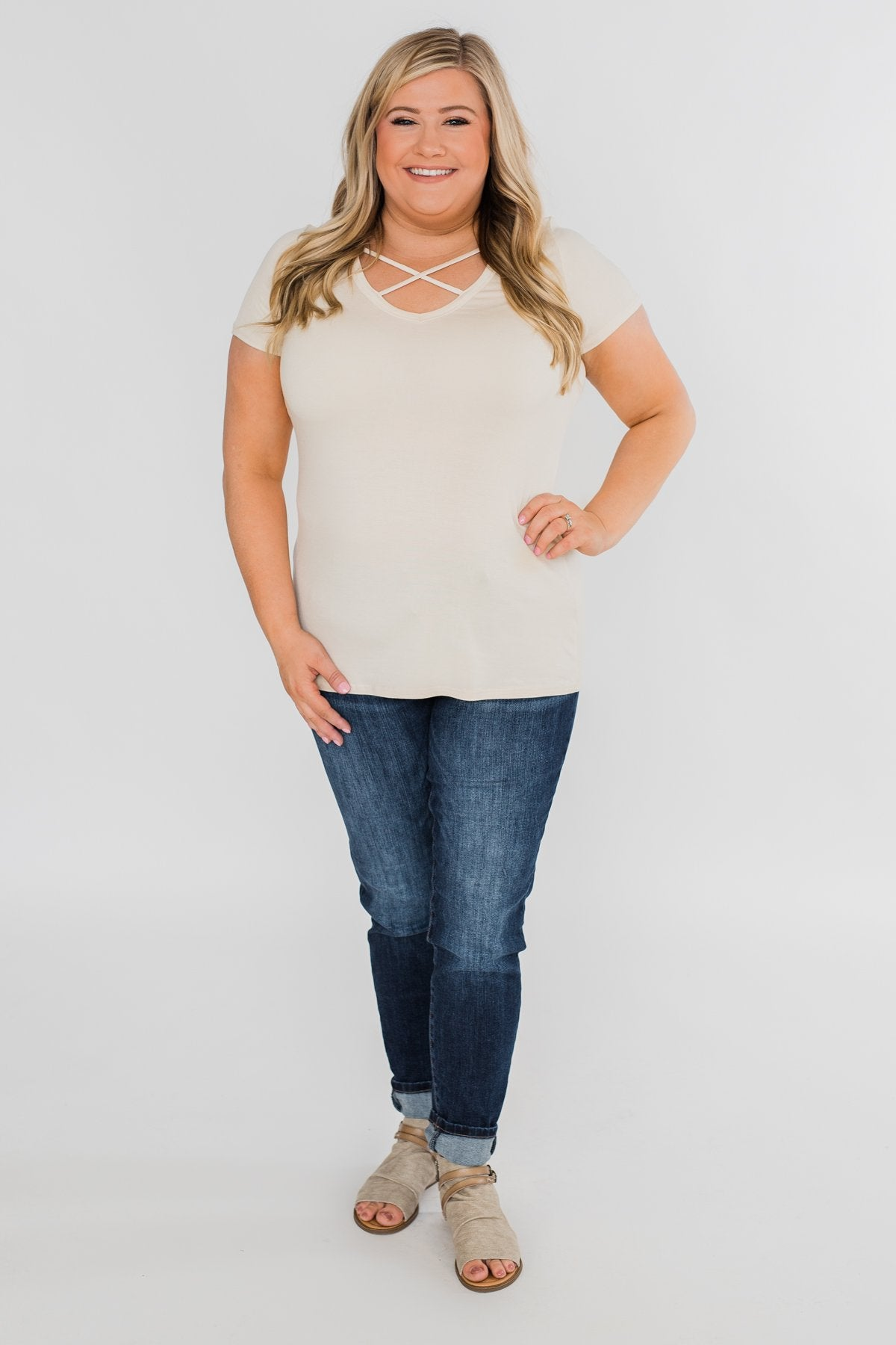Meet Me Here Short Sleeve Top- Light Tan