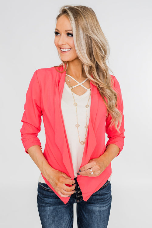 Keep It Professional Blazer- Neon Pink