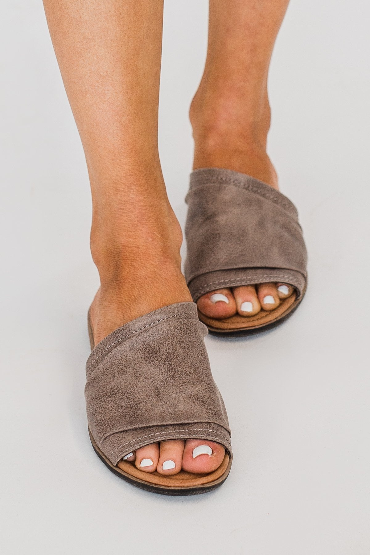 Sugar Equal Slip On Sandals- Taupe Distress