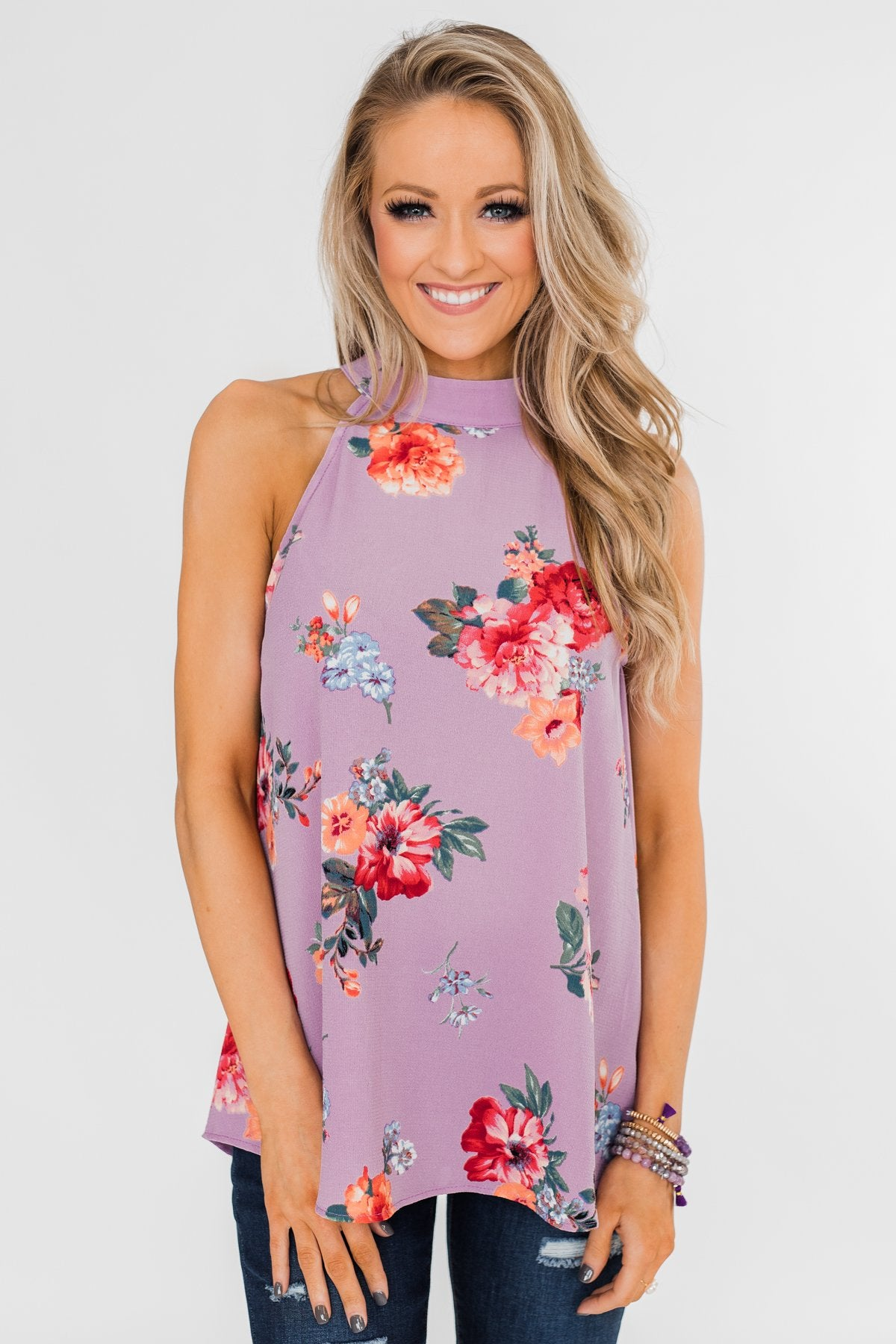 Flourish in Floral Halter Tank Top- Orchid