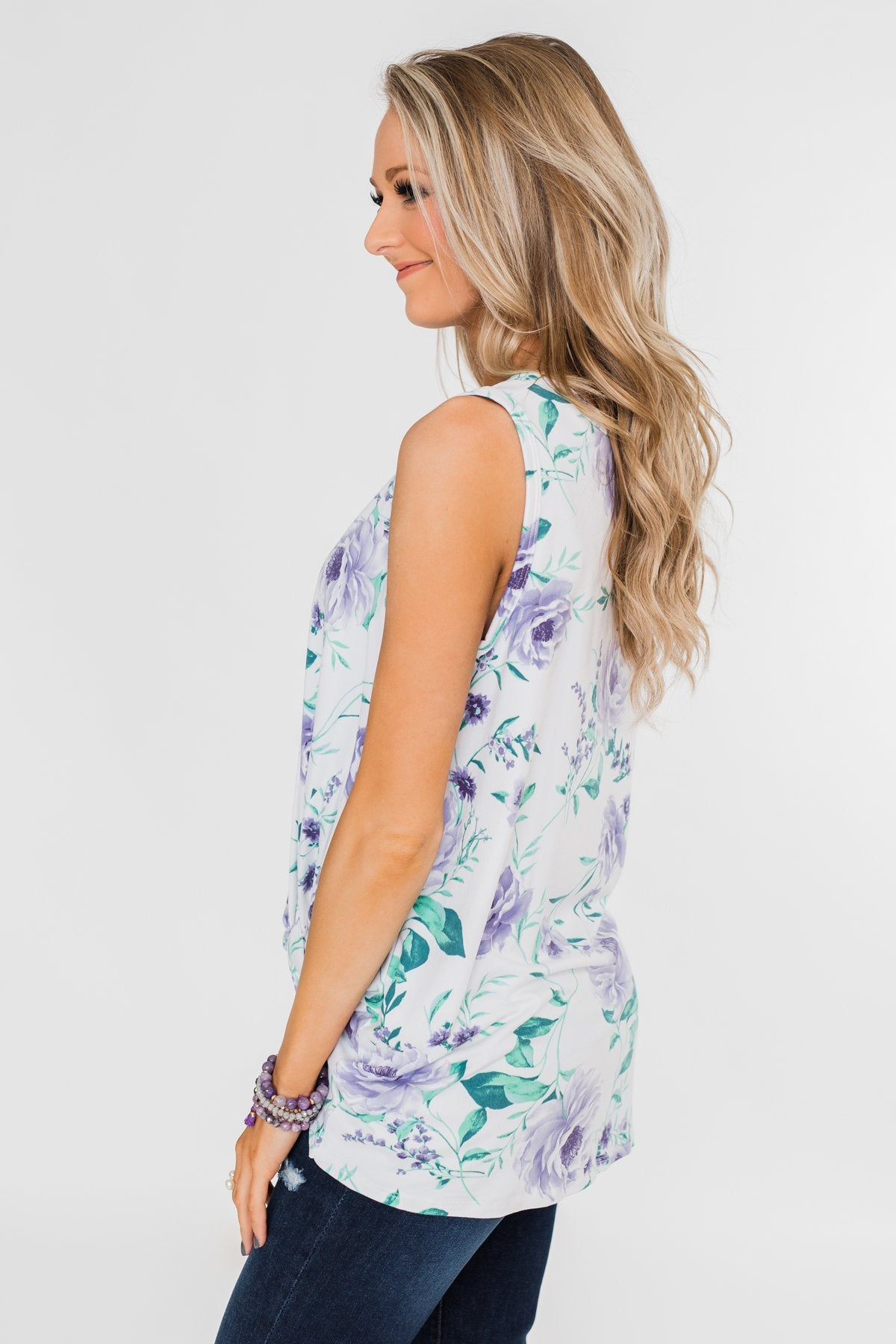 Midnight Expressions Floral Knot Tank Top - Ivory