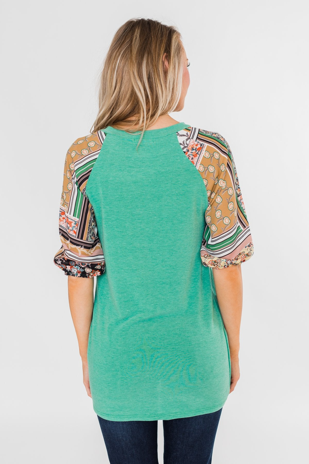 Keep Walking On Printed Sleeve Top- Jade Green