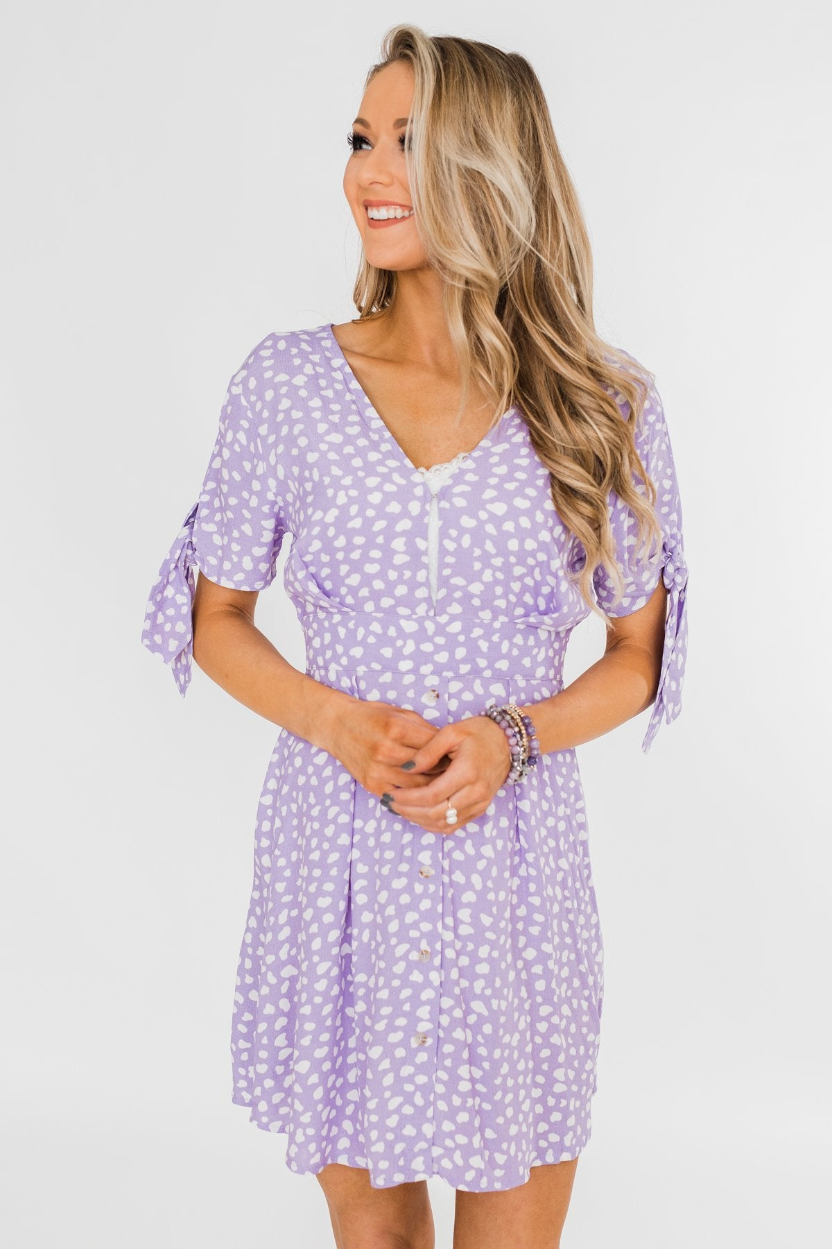 Time To Celebrate Leopard Tie Dress- Lavender