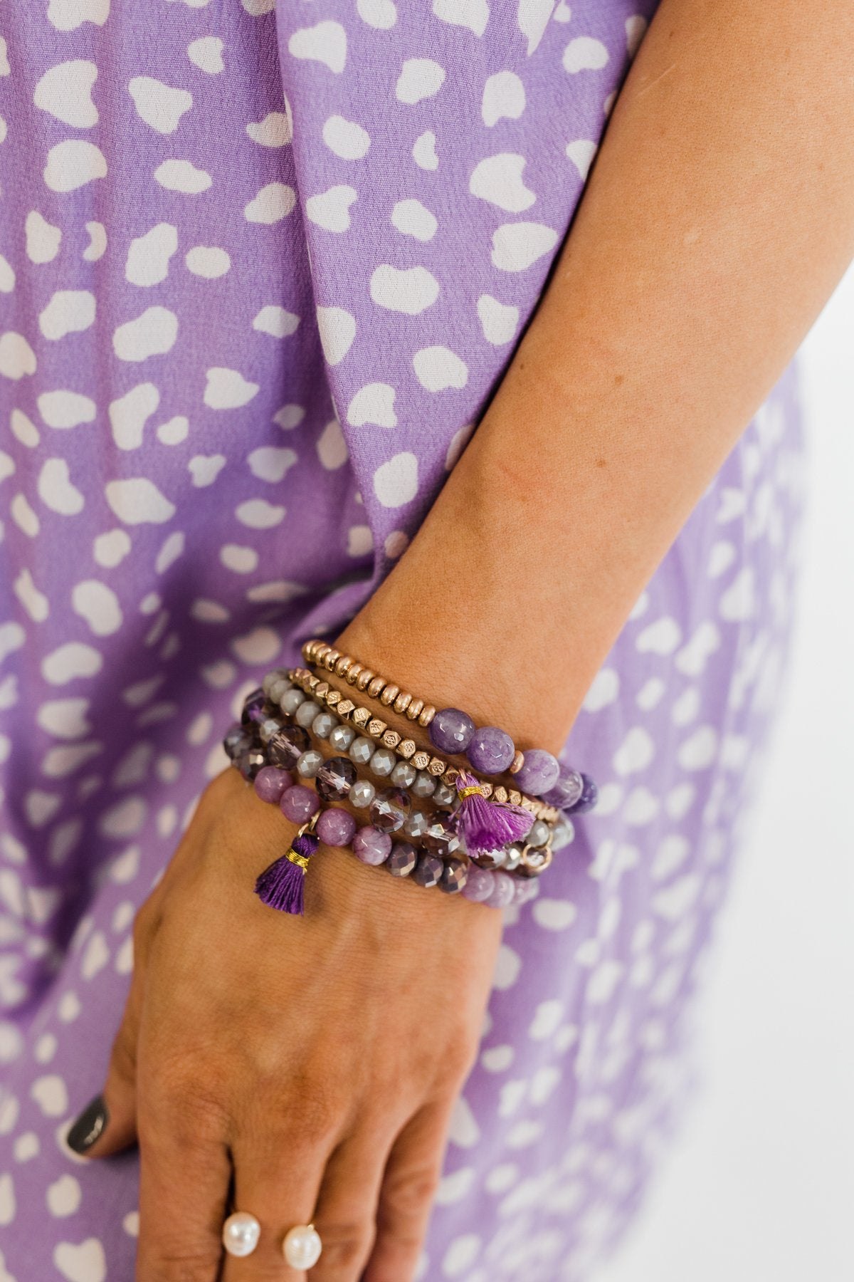 Tassels & Beads Bracelet Set- Gold & Purple