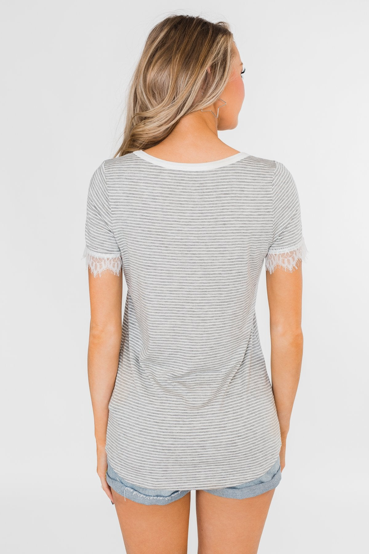 All About the Accents Lace Striped Top- Grey & White