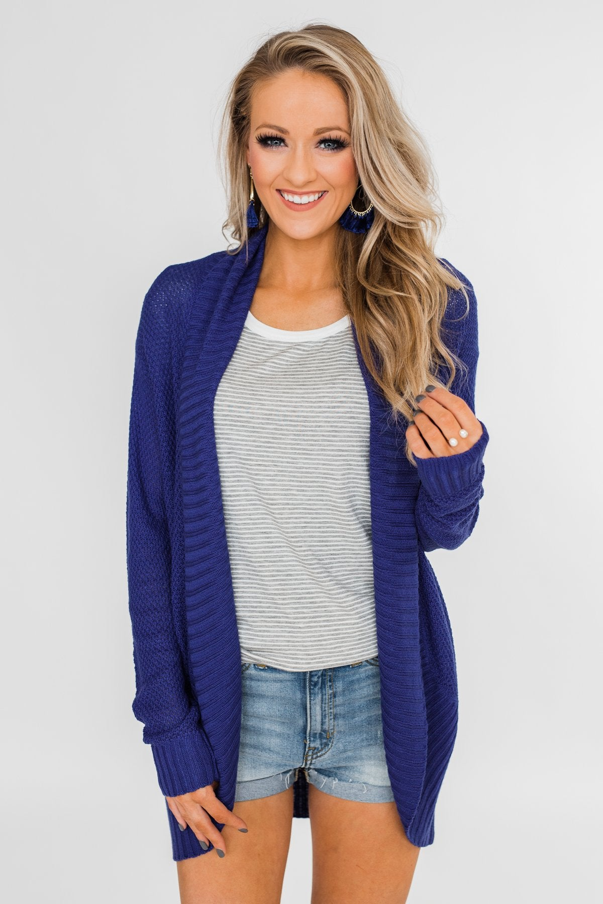 Knitted Drape Cardigan- Royal Blue