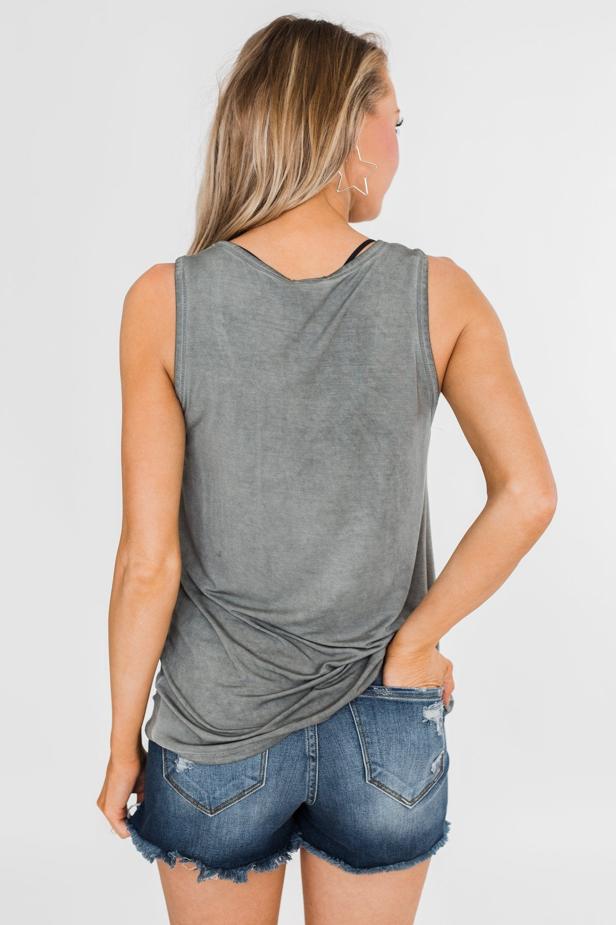 Pocketful of Color Tank Top- Vintage Grey