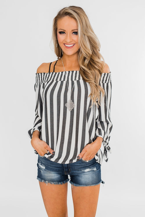Summer On You Off the Shoulder Top- Black