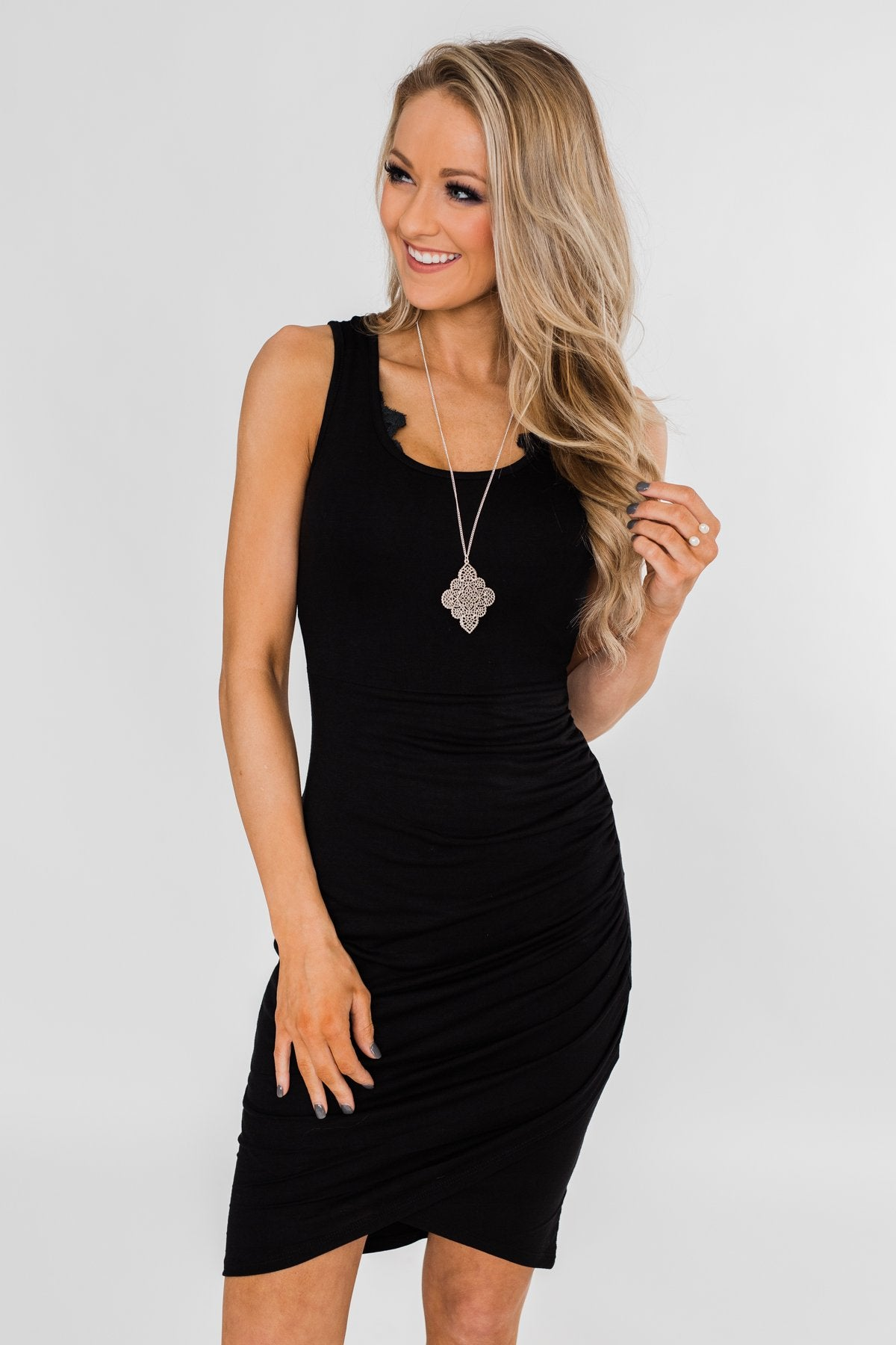 Make It Chic Fitted Dress- Solid Black