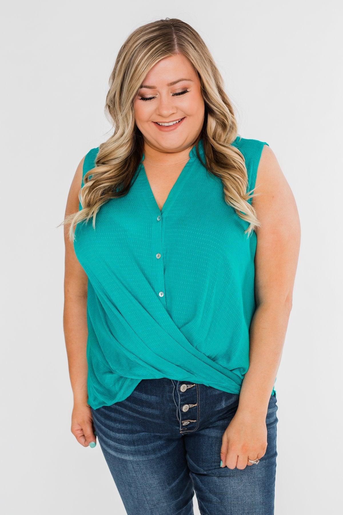 Anywhere With You Twist Tank Top- Turquoise