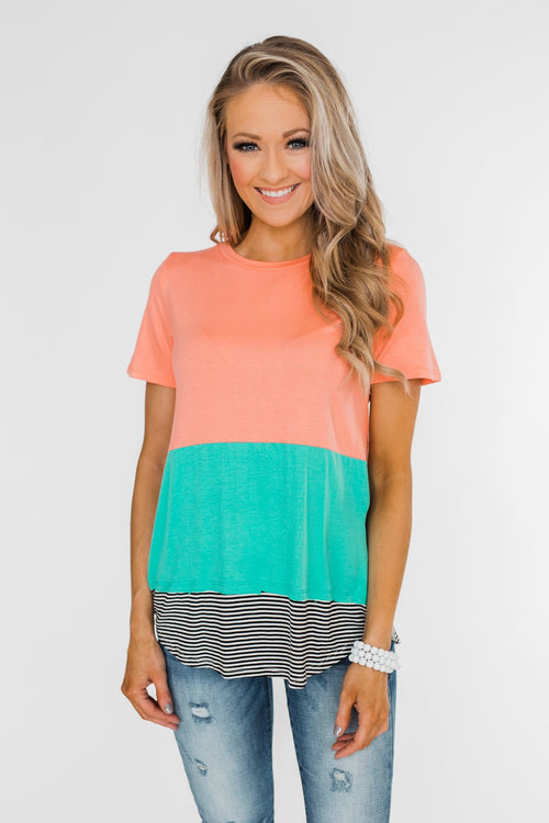 Good Intensions Color Block Striped Top- Peach & Teal