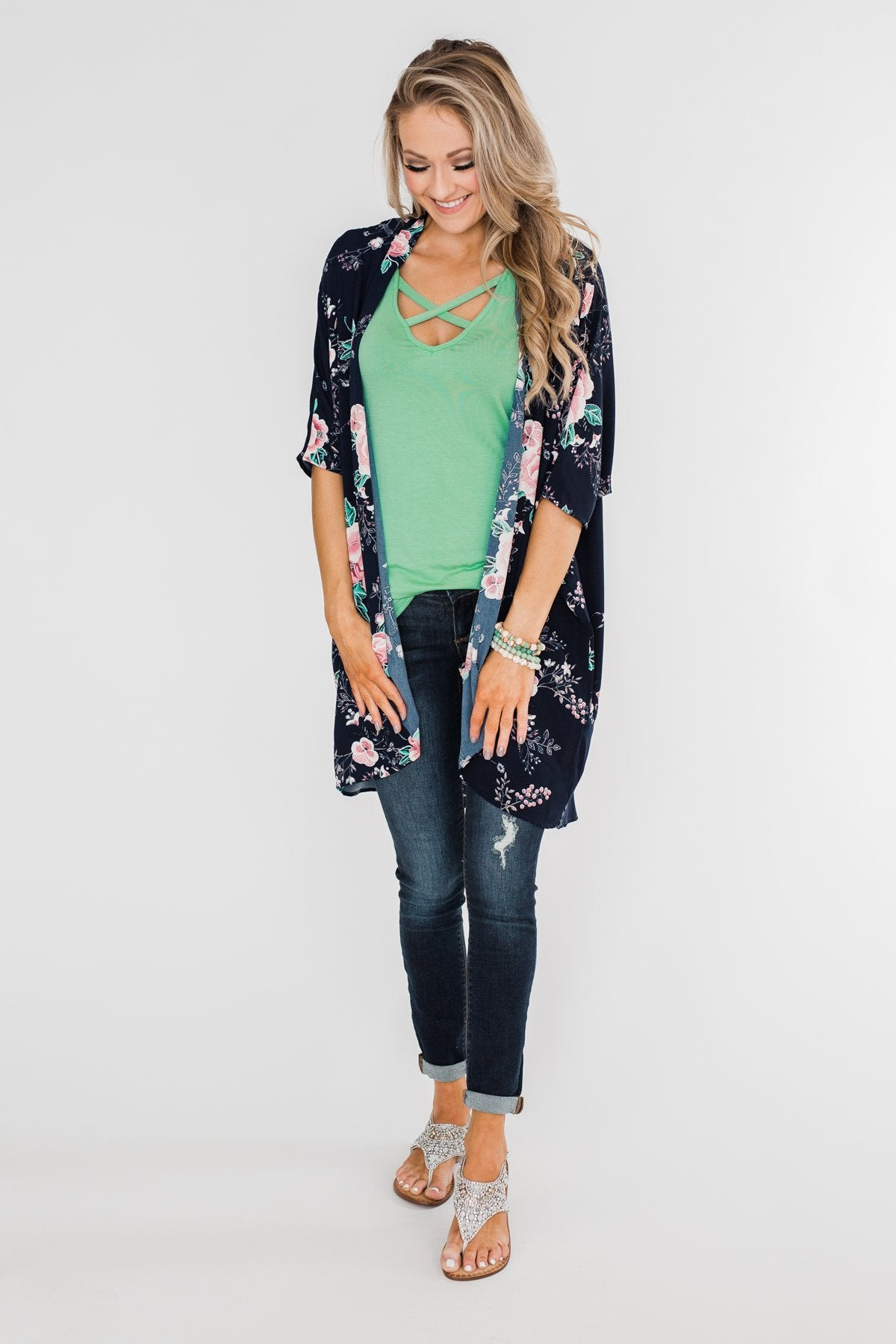 Start With Forever Floral Kimono- Navy