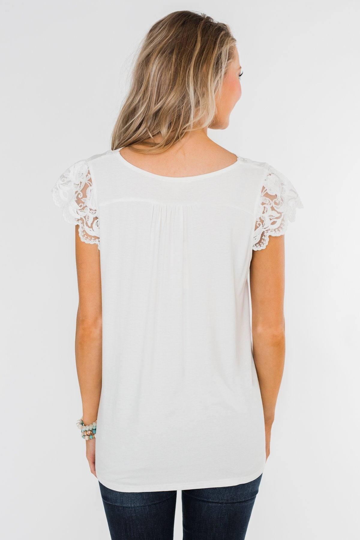 All I've Ever Needed Lace Top- Off White