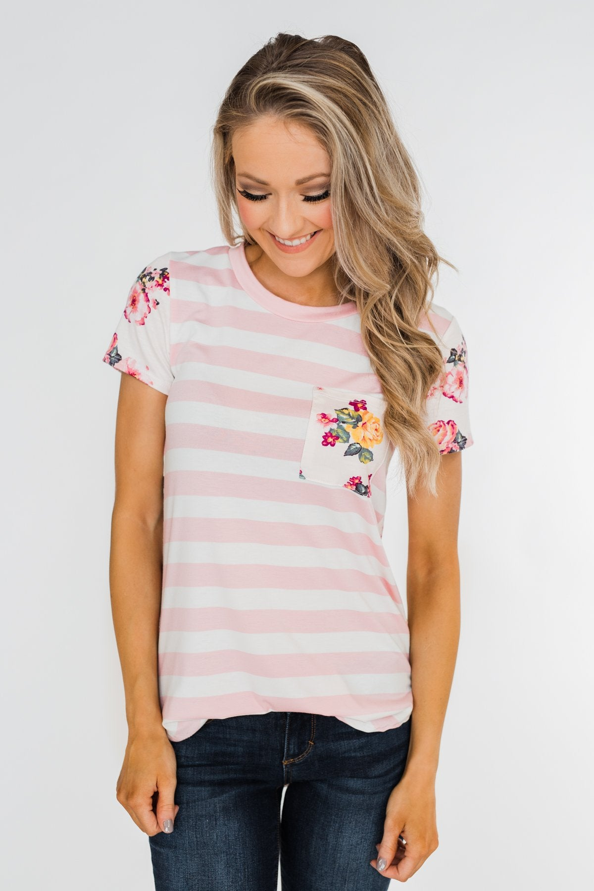 *2nds* Floral & Striped Pocket Top- Blush