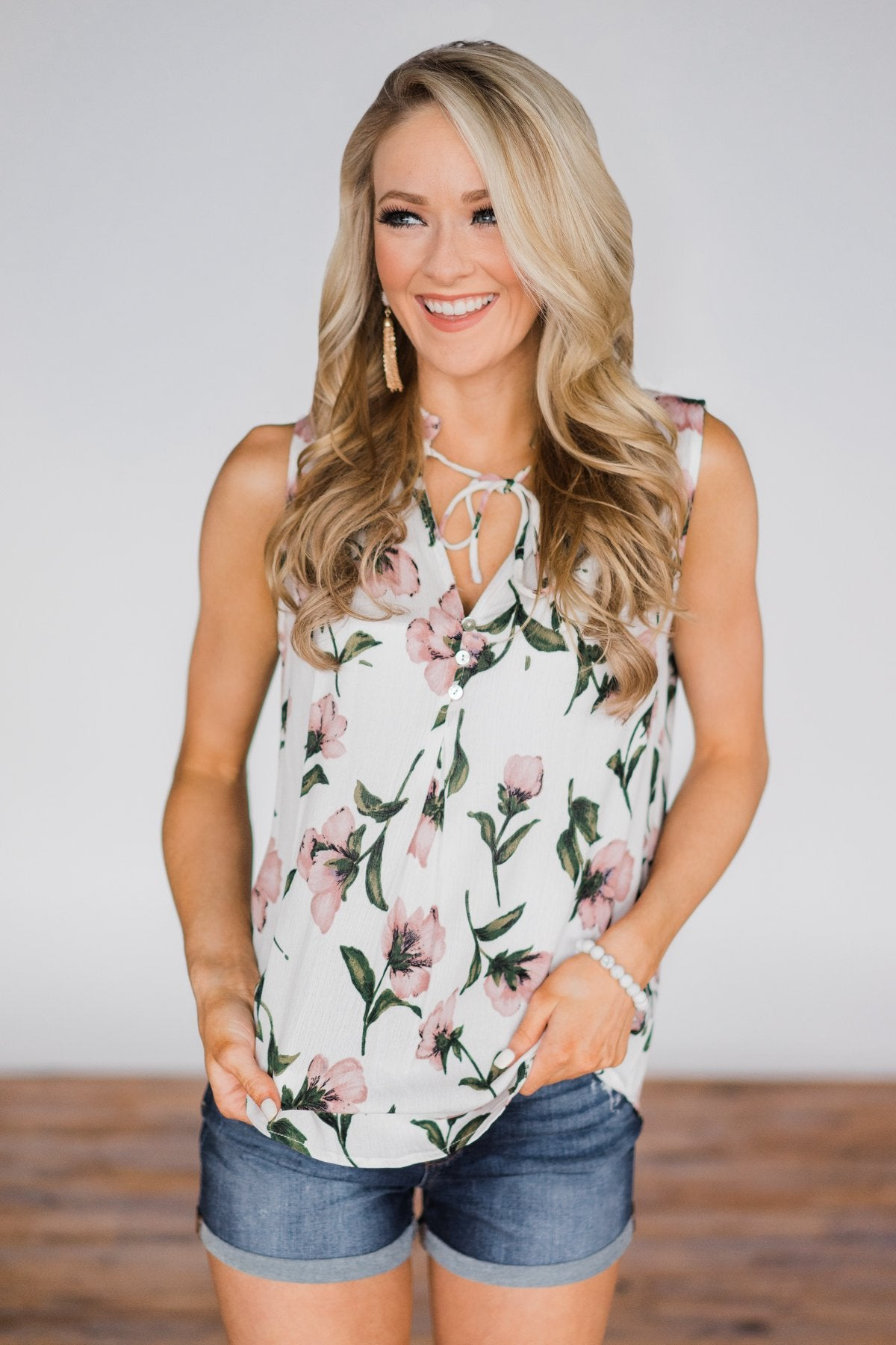 Floral Finesse Neck Tie Tank Top- Ivory
