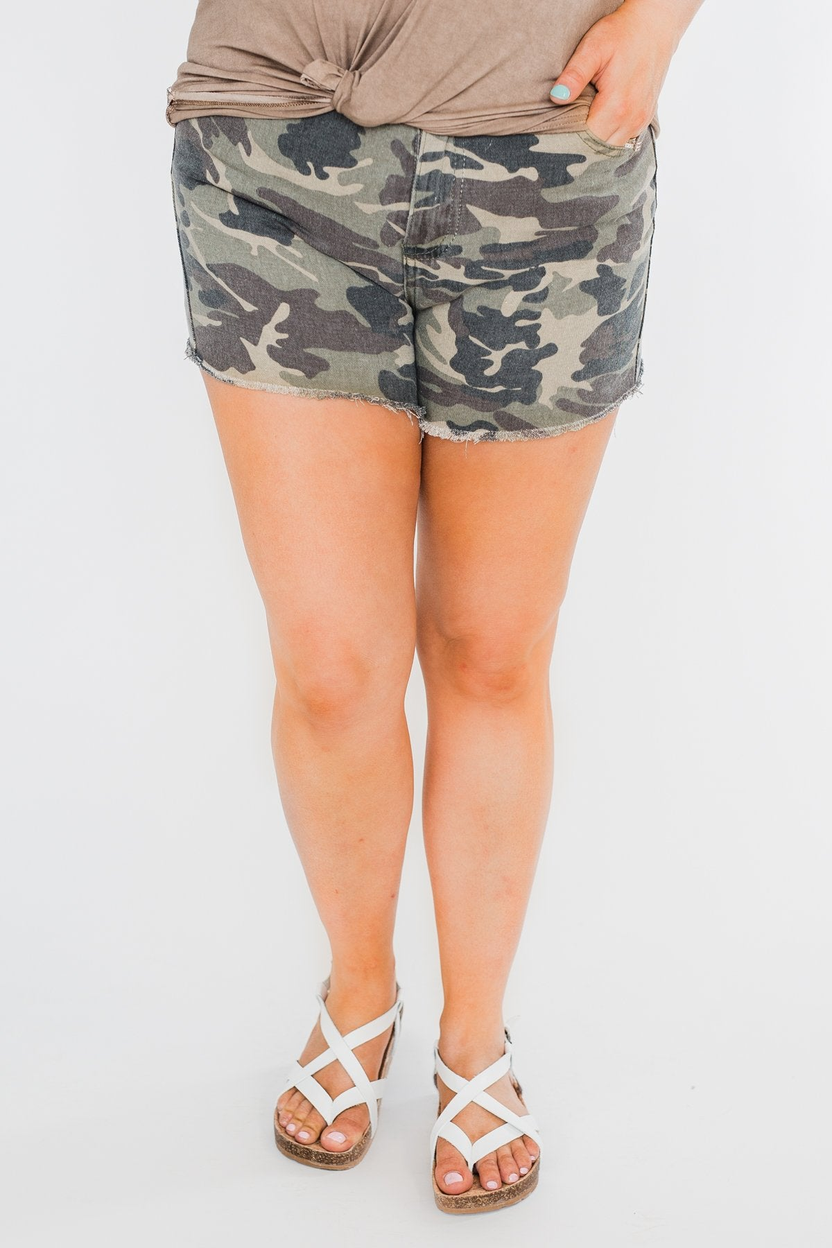 Camouflage Denim Shorts