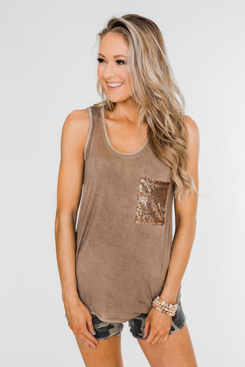 Take Me Back Sequin Pocket Top- Mocha