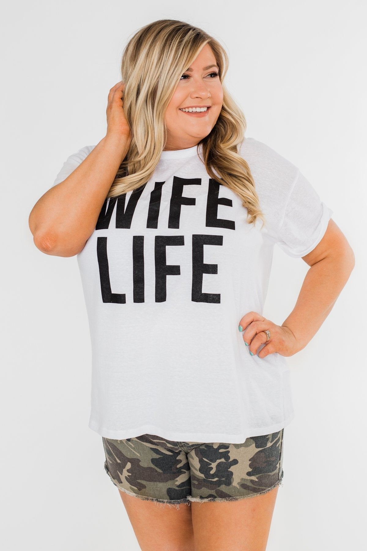 """Wife Life"" Short Sleeve Top- White"