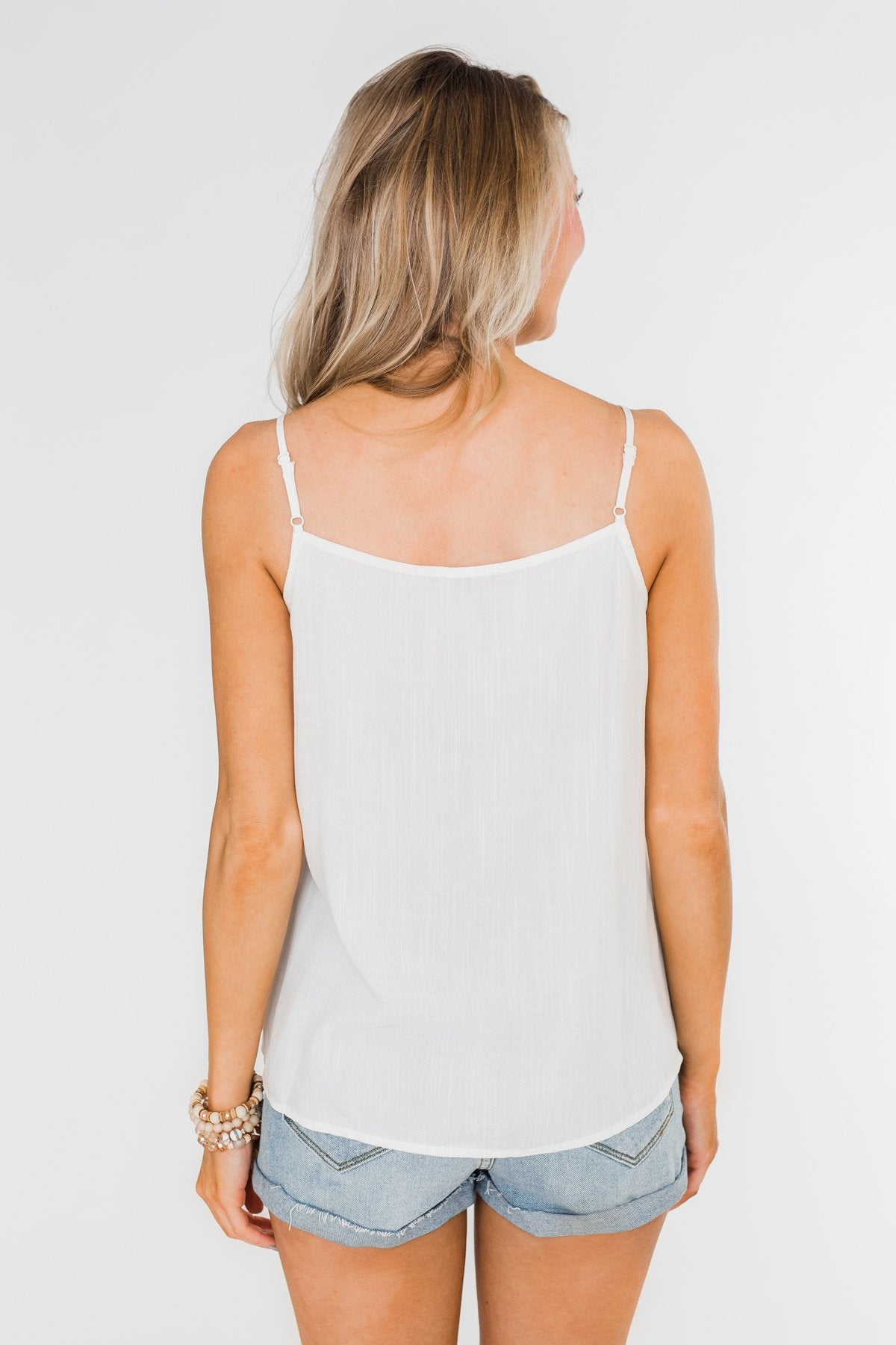 Ideal Situation Ruffle Tank Top- Ivory