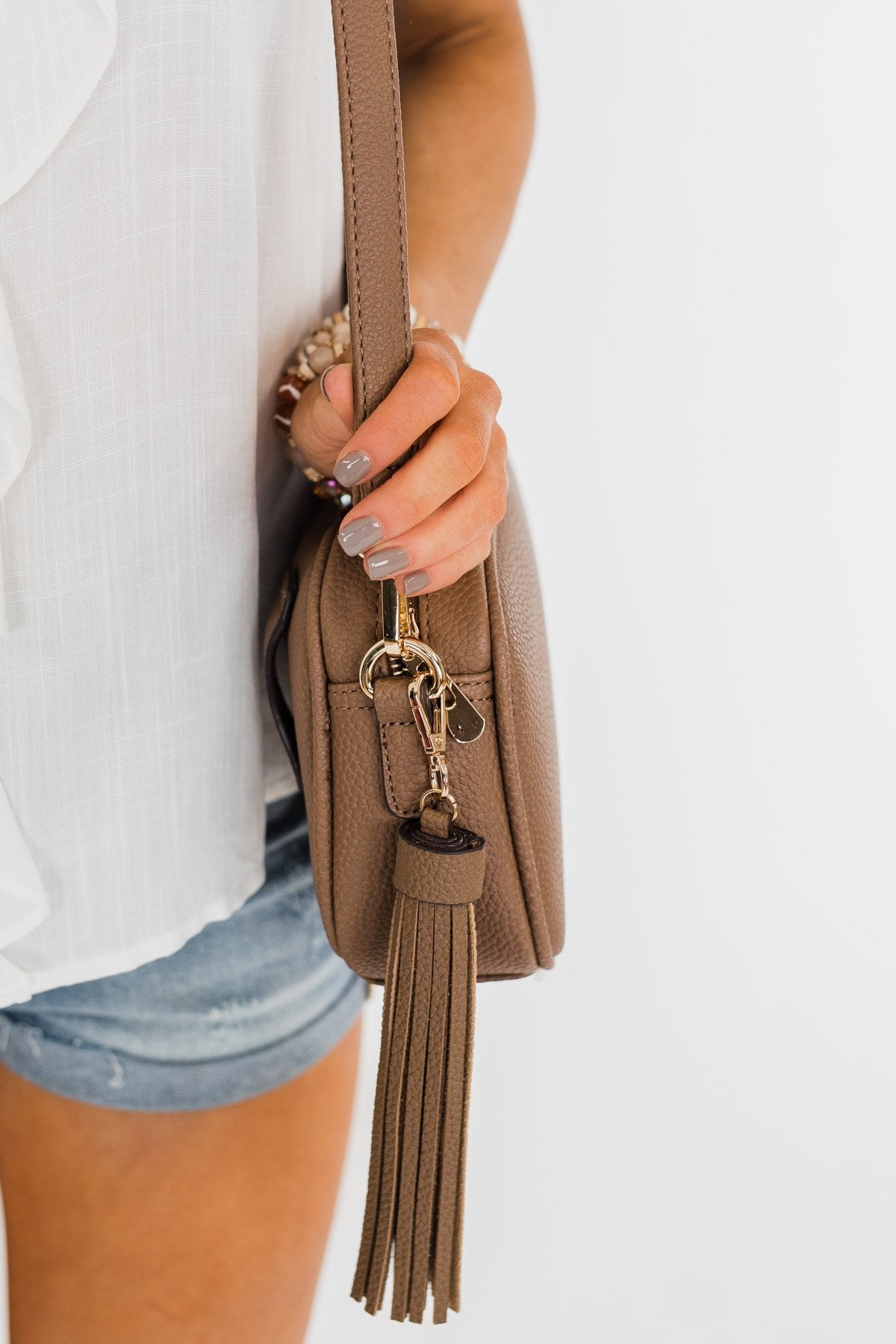 Tassel Convertible Purse- Khaki