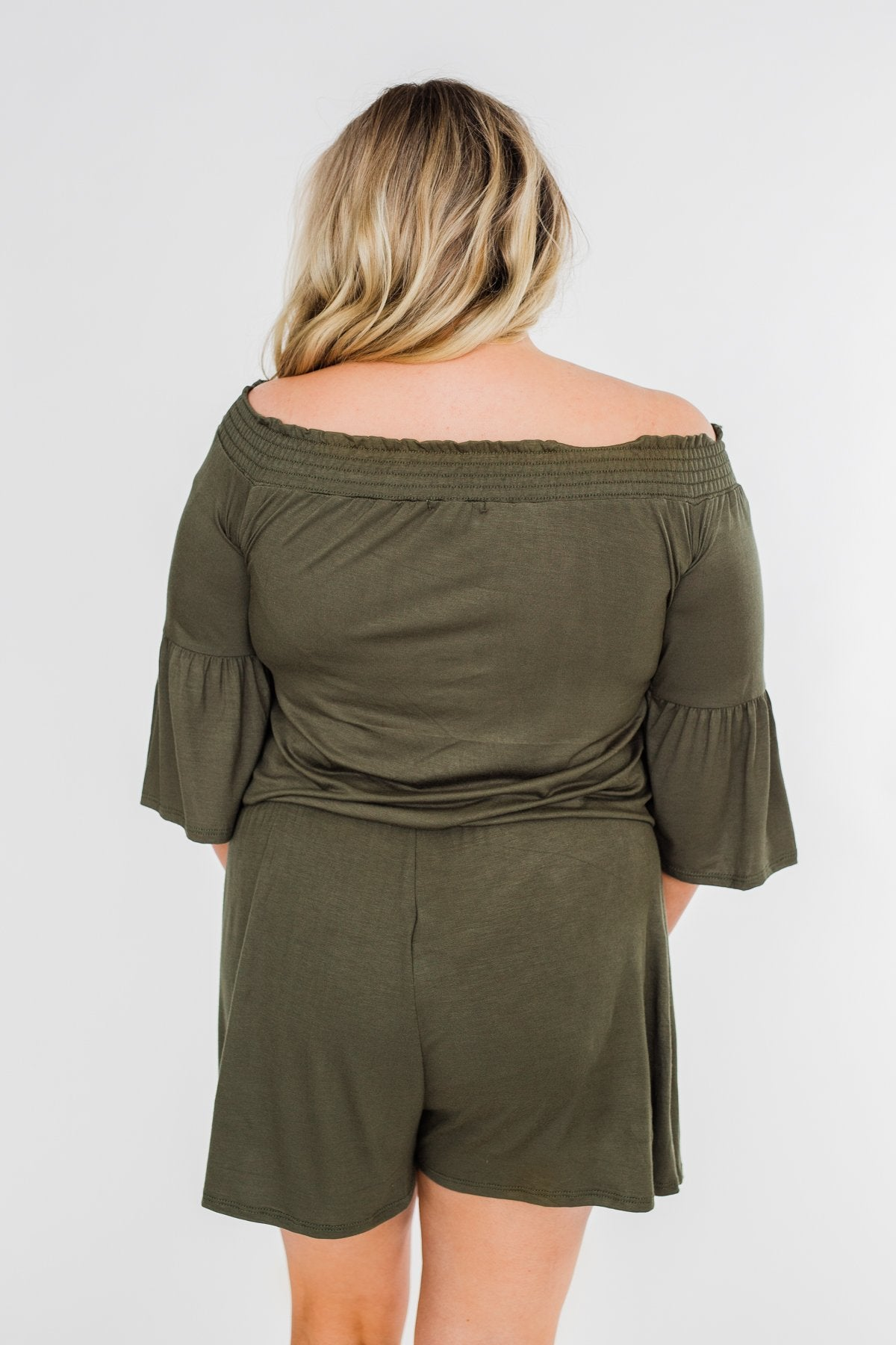 Never Better Off The Shoulder Romper- Olive