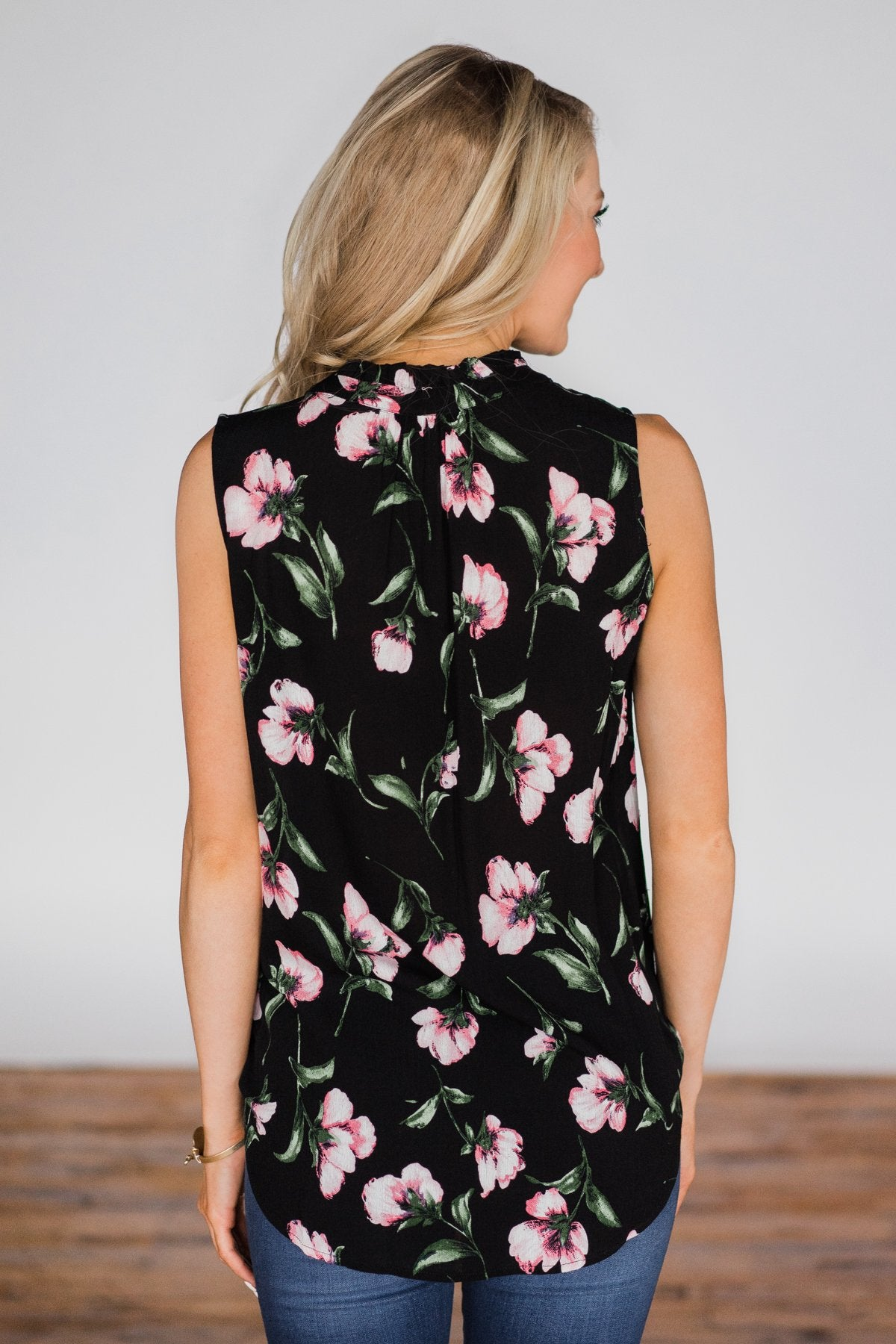 Floral Finesse Neck Tie Tank Top - Black