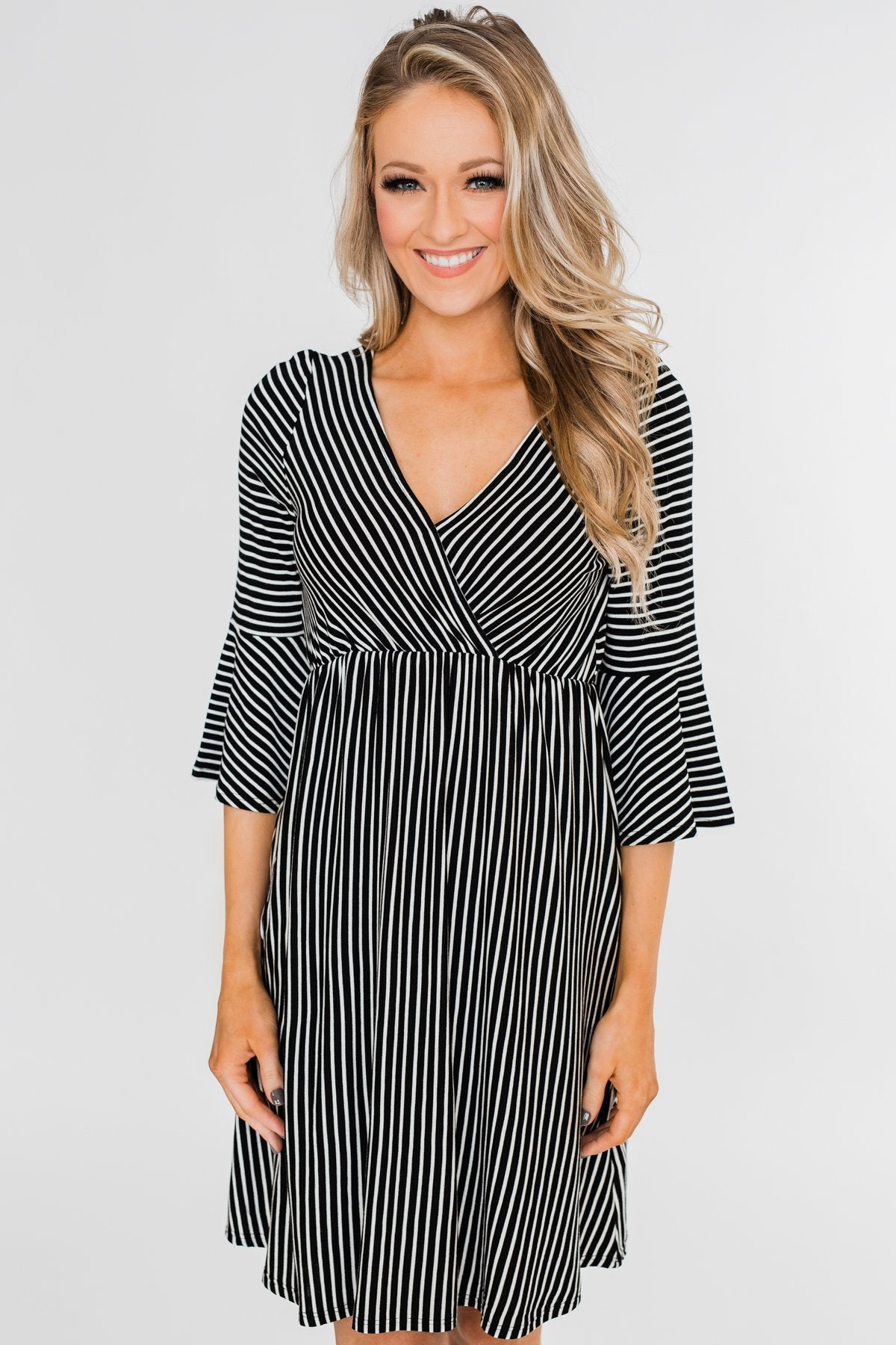 Couldn't Ask For More Striped Midi Dress- Black & White