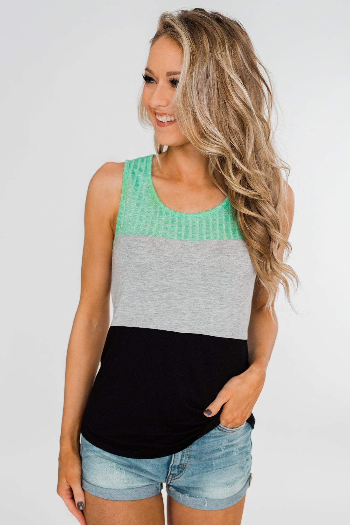 Start Today Color Block Tank Top- Mint