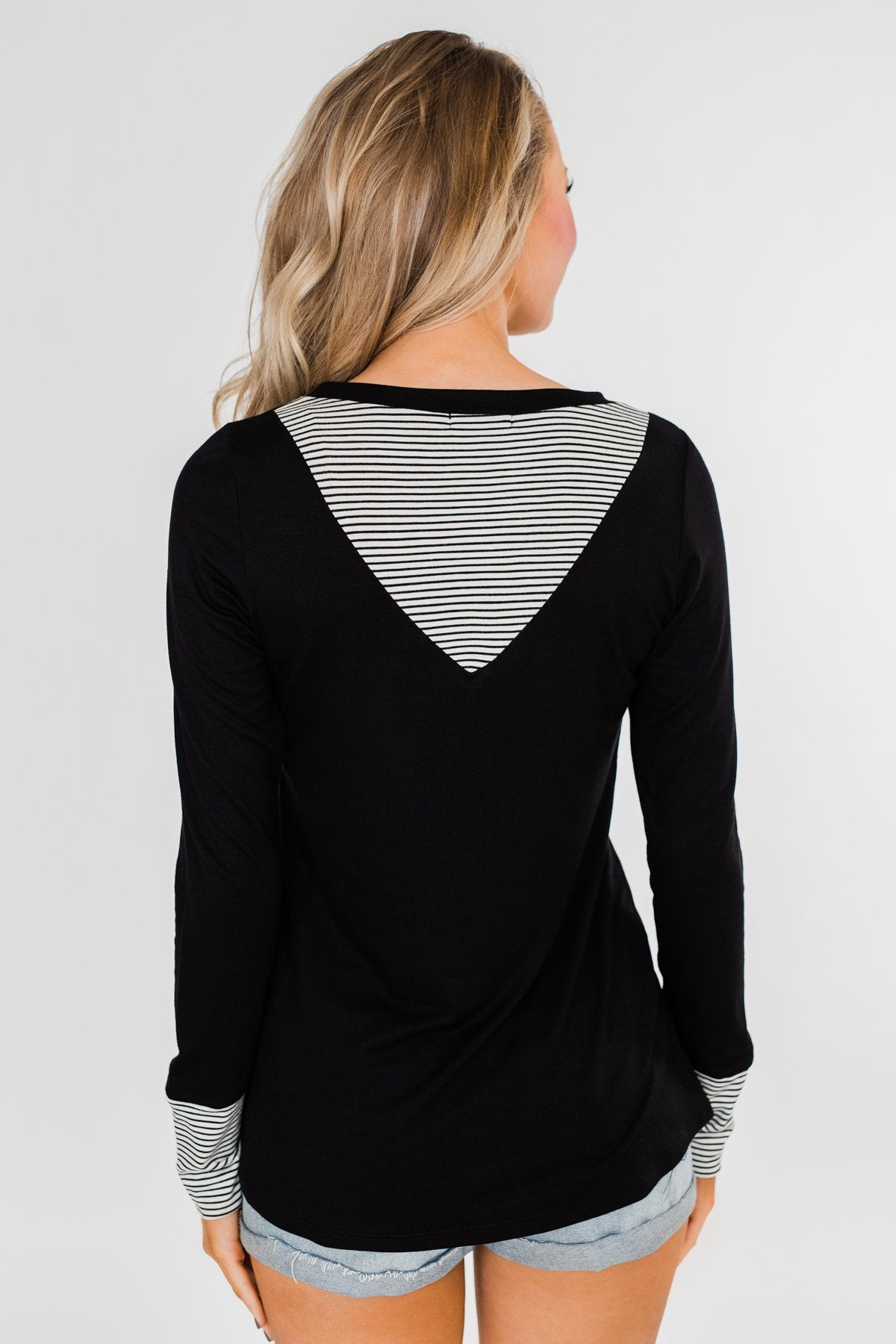 Special to Me Striped Detail Long Sleeve Top- Black