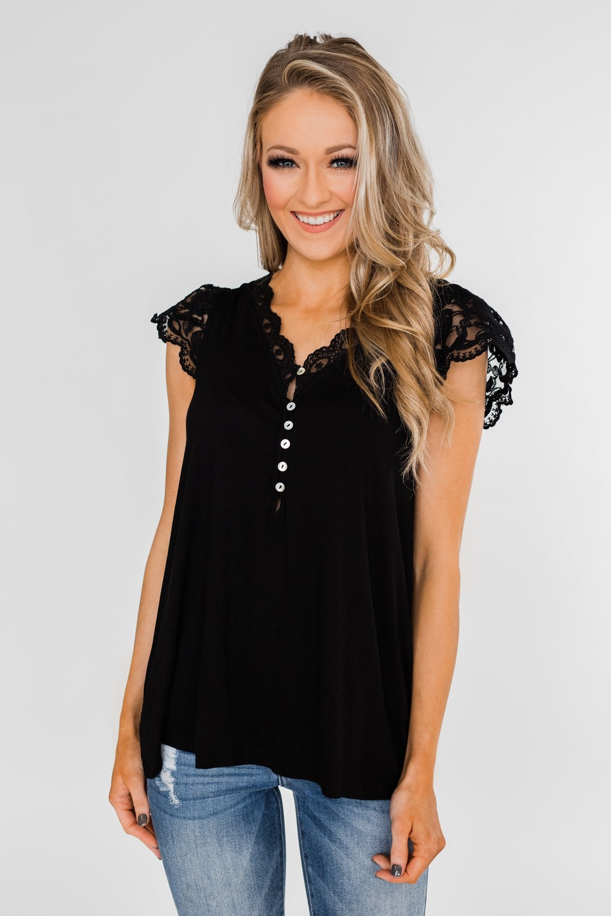 All I've Ever Needed Lace Top- Black