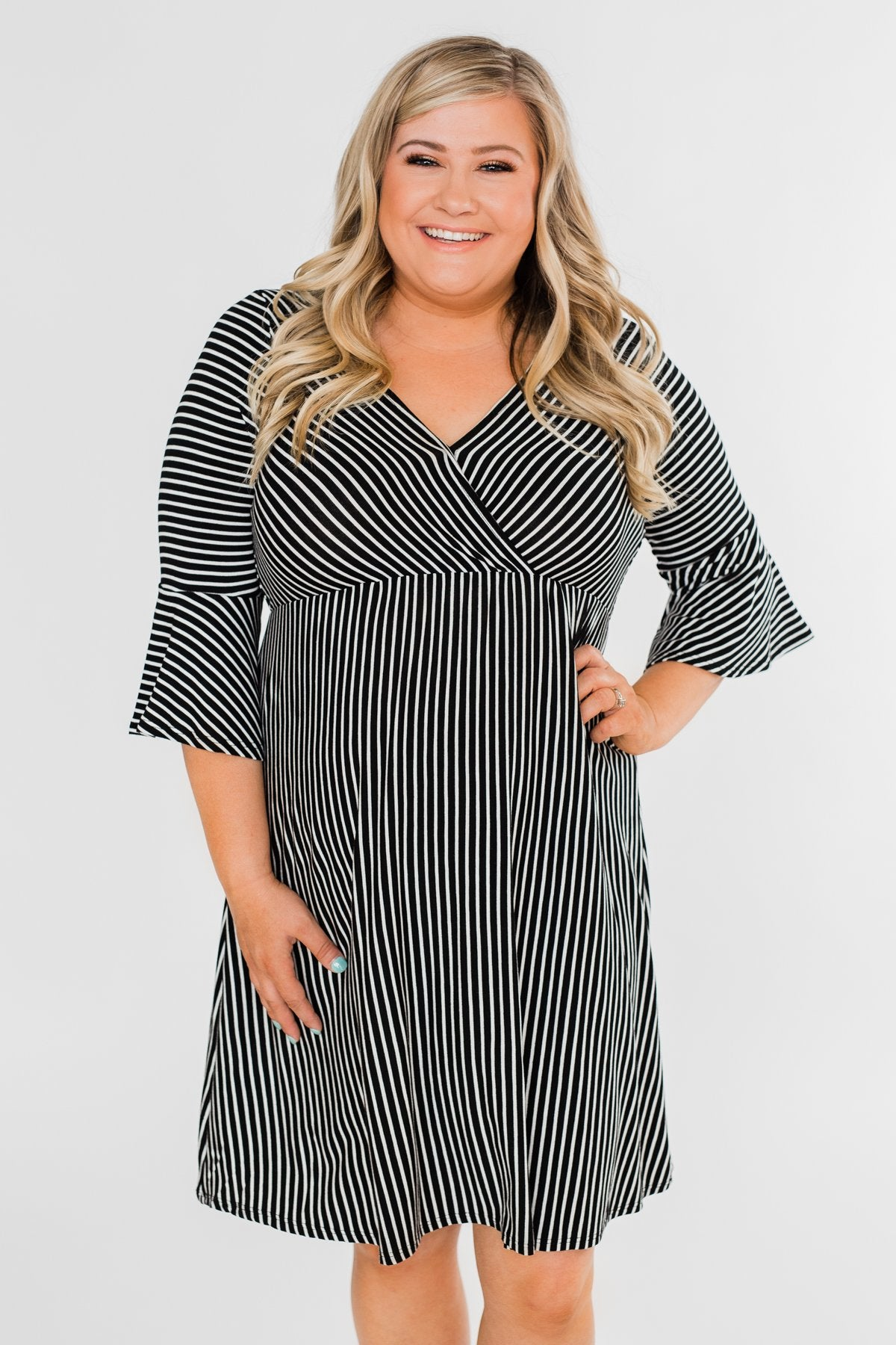 89a4e6fd12a Couldn t Ask For More Striped Midi Dress- Black   White – The Pulse ...