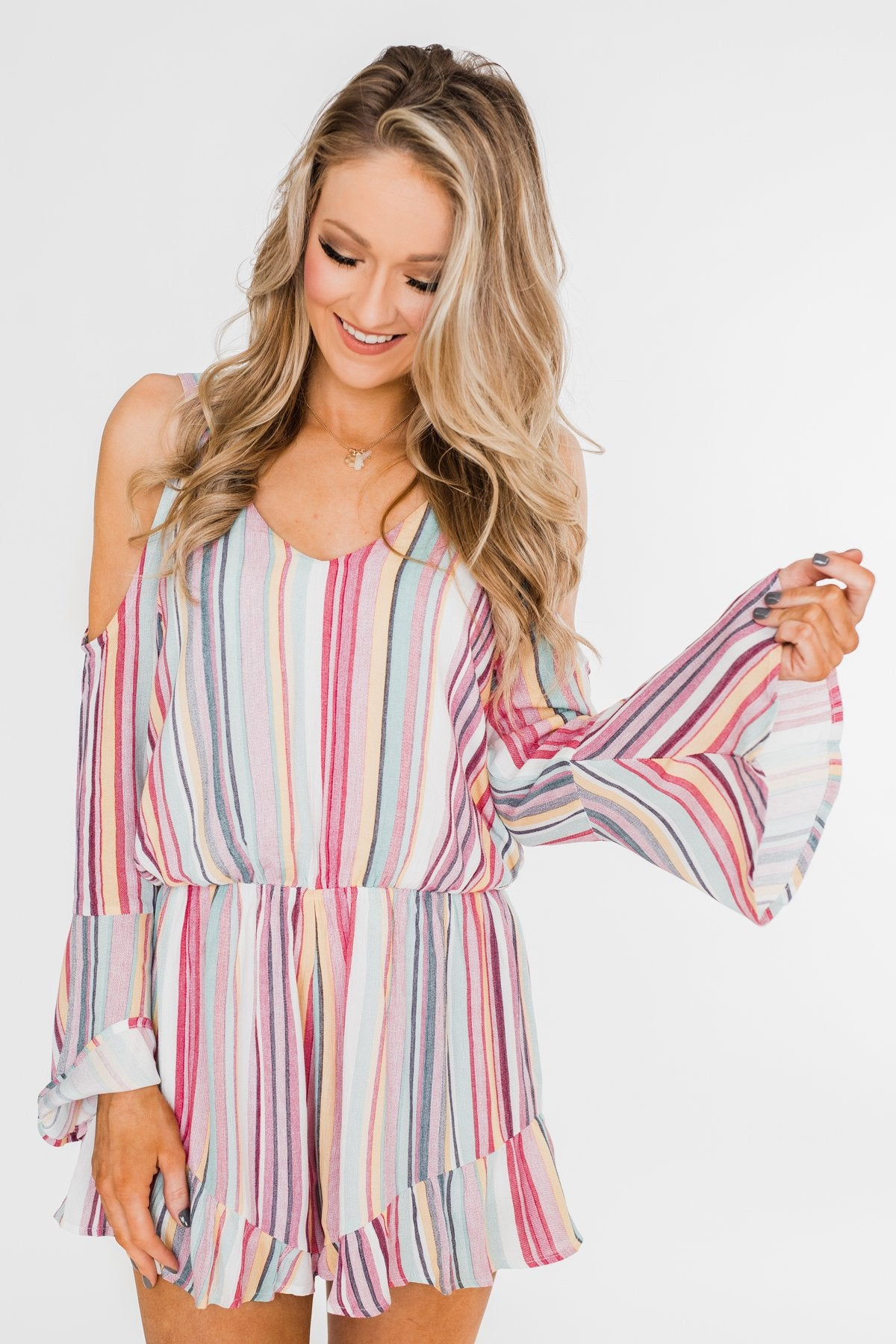 Summer Lovin' Striped Romper- Multi-Colored